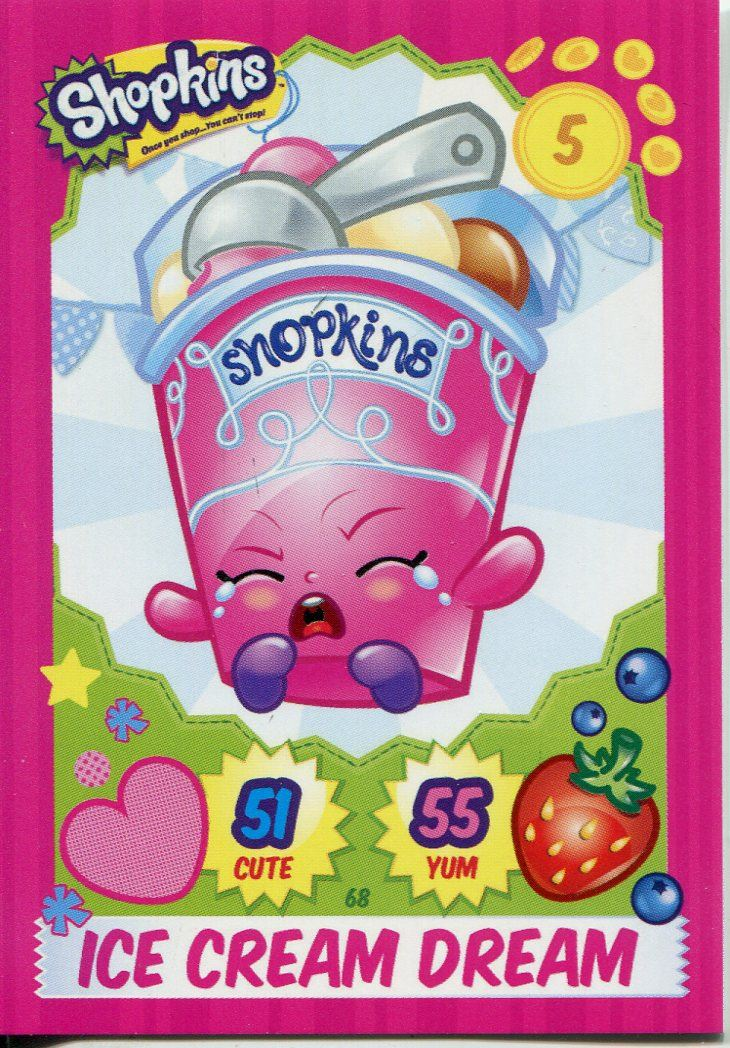 Topps Shopkins Series 1-4 Trading Cards Base Card #68 Ice Cream Dream