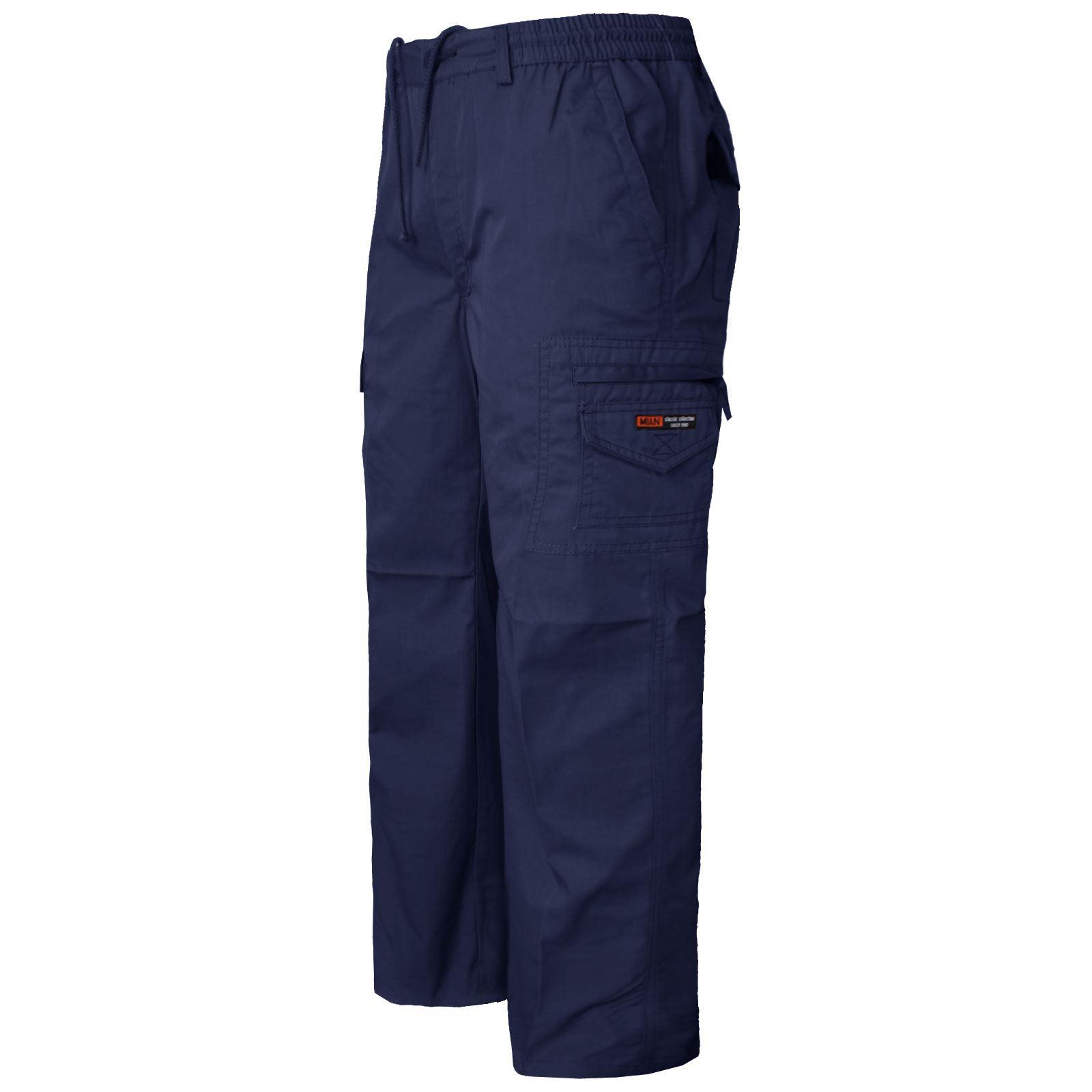 Mens Elasticated Summer Trousers Cargo Combat Work Casual Long Pants Sport Pants