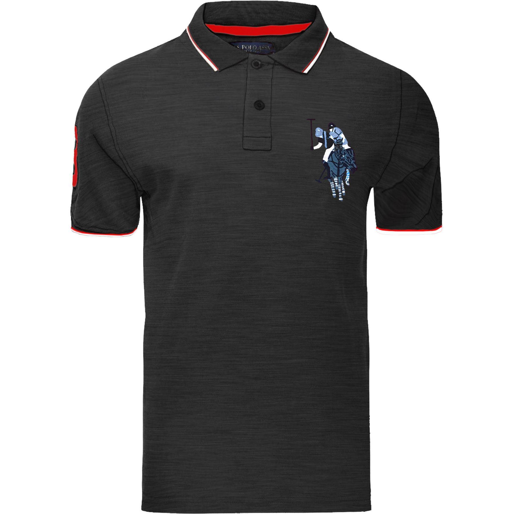 Polo-para-Hombre-US-Polo-Assn-Camiseta-2018-contraste-superior-de-diseno-tres-Mangas-Cortas-Algodon
