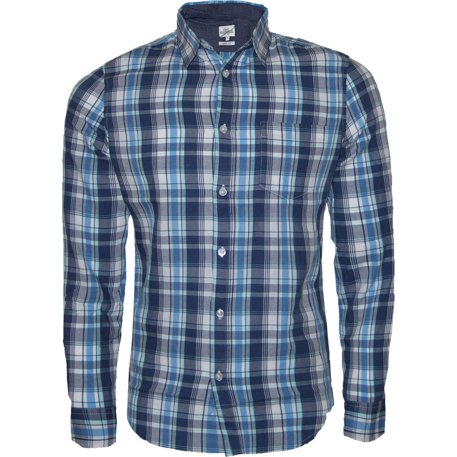 Mens next long sleeve casual check print smart cotton work for Mens long sleeve casual cotton shirts