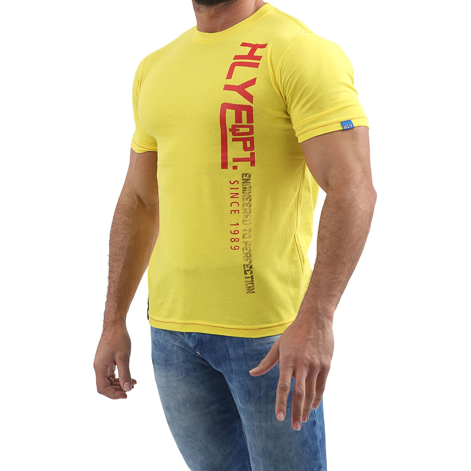 Mens-HLY-Printed-T-Shirt-100-Cotton-Gym-Athletic-Training-Tee-Top-Summer-New thumbnail 19
