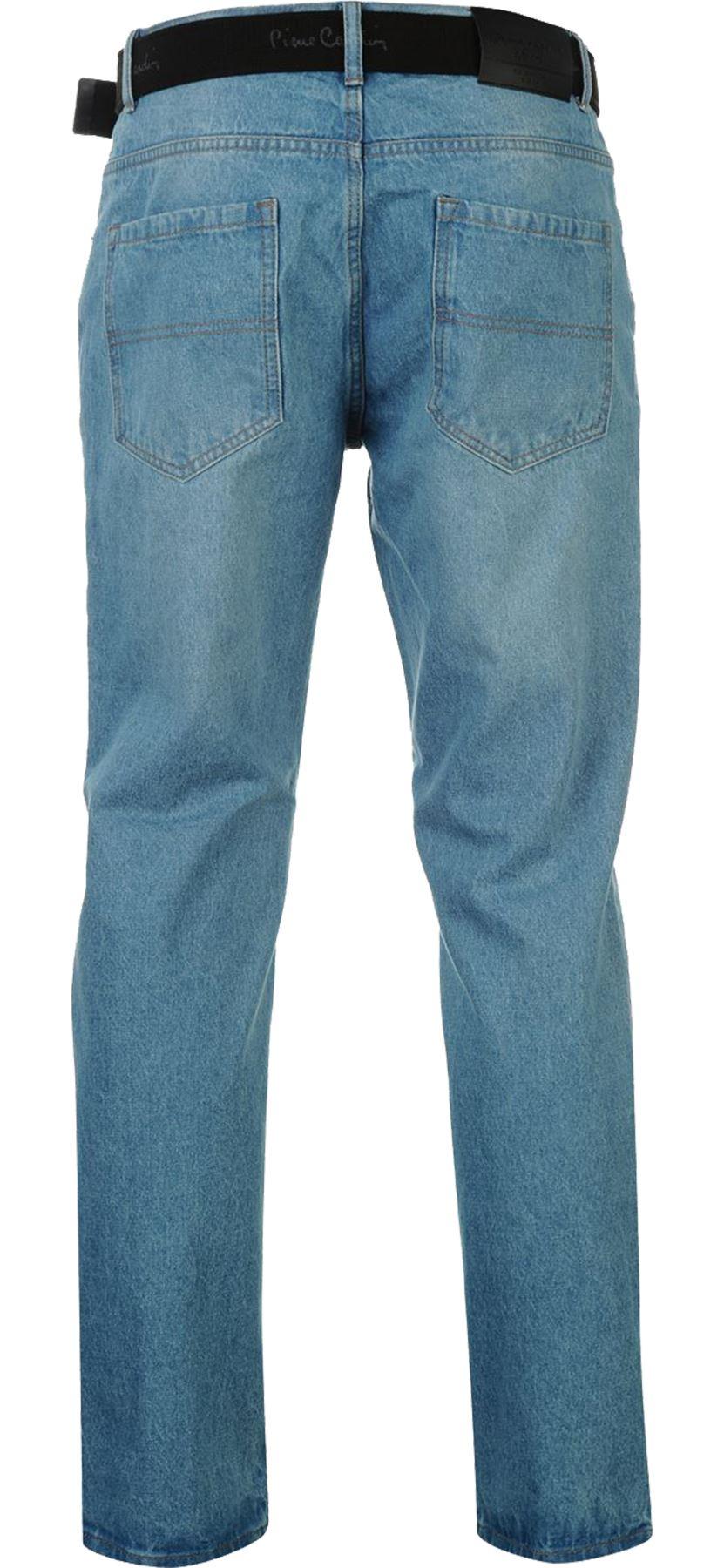 Mens-Belted-Denim-Jeans-Straight-Leg-Regular-Fit-Pierre-Cardin-Pants-Big-Tall thumbnail 12