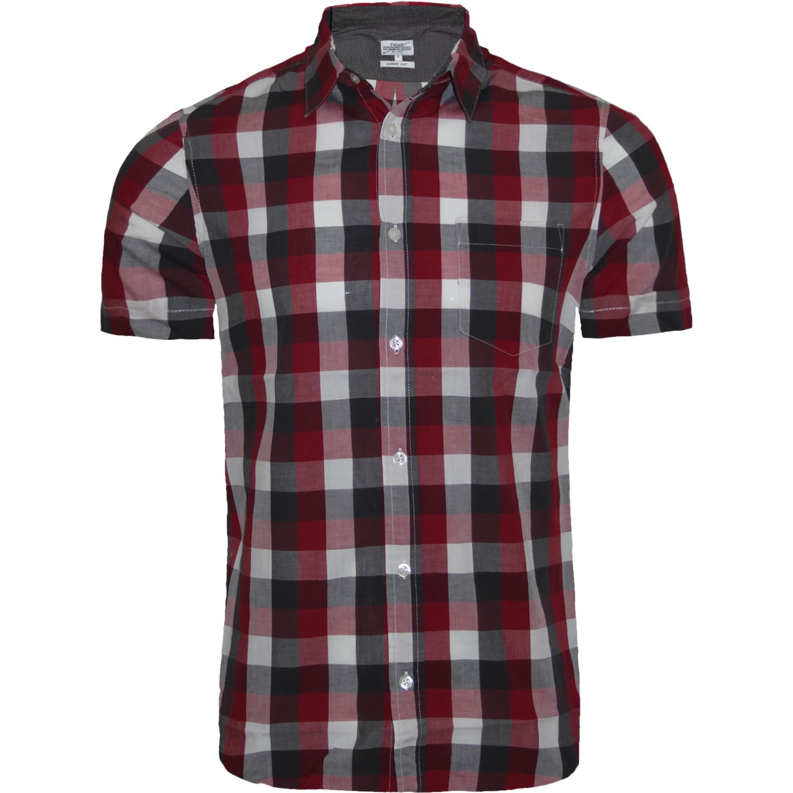 Men 39 s next branded check shirt short sleeve shirt casual for Short sleeved shirts for men