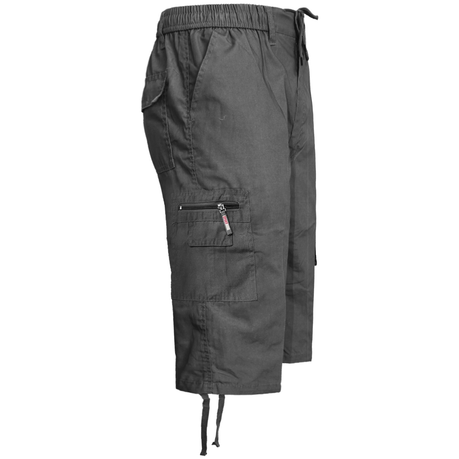 MENS-ELASTICATED-KNEE-LENGTH-OR-3-4-SHORTS-CARGO-COMBAT-MULTI-POCKET-SUMMER-PANT thumbnail 30