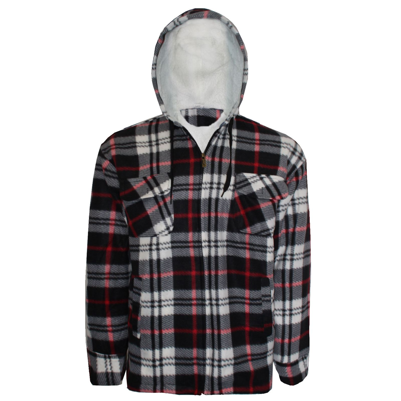 Mens Lumberjack Fur Fleece Lined Padded Shirt Flannel Work