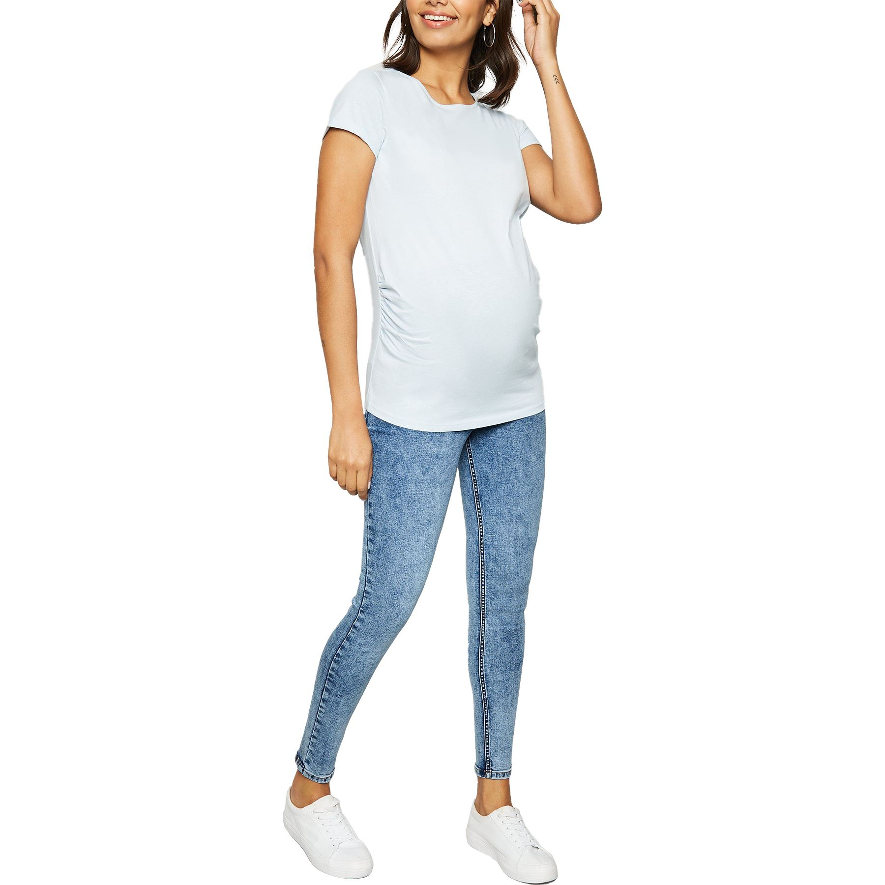 Ex-Store Ladies Over Bump Stretch Maternity Skinny Jeans Orange 12