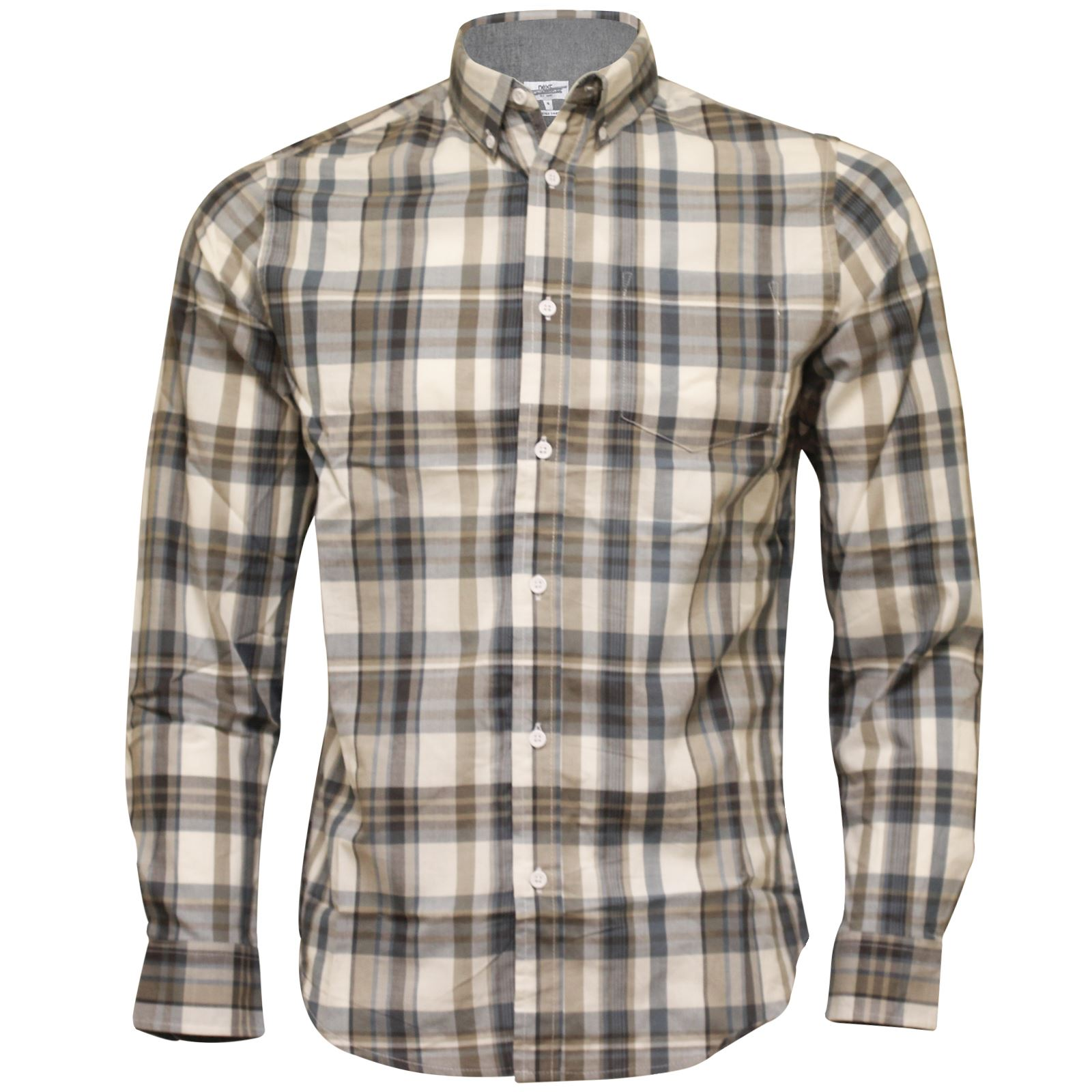Mens ex next long sleeve casual check print smart 100 for 100 cotton work shirts