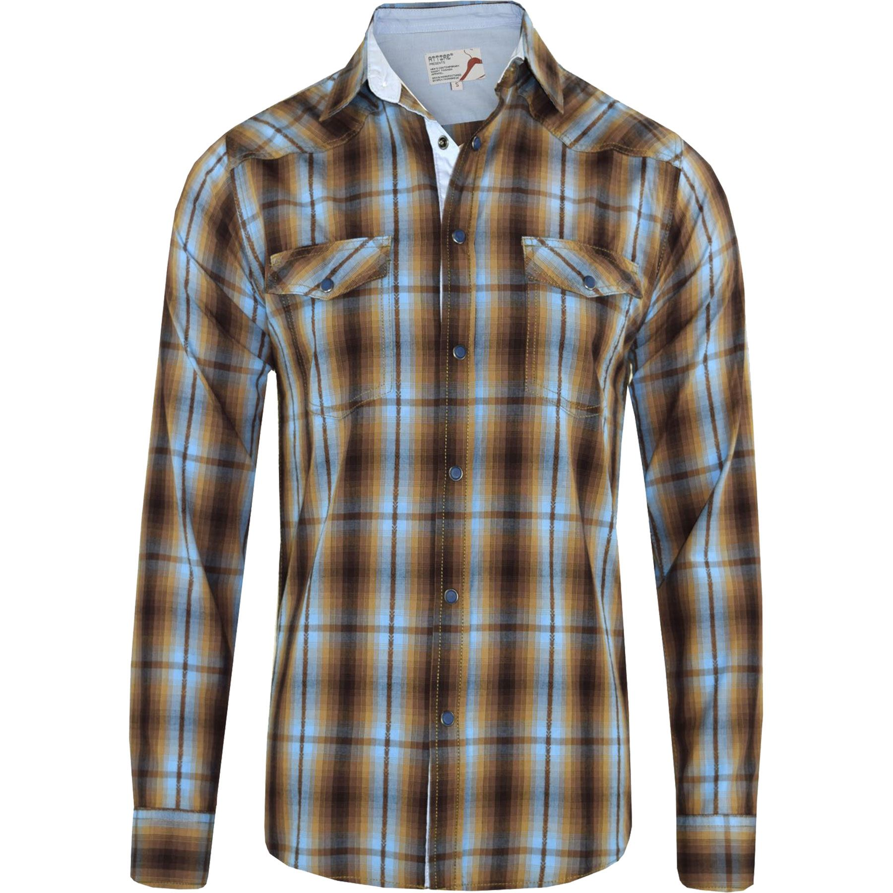 Mens flannel check lumberjack long sleeve casual smart for Mens long sleeve casual cotton shirts