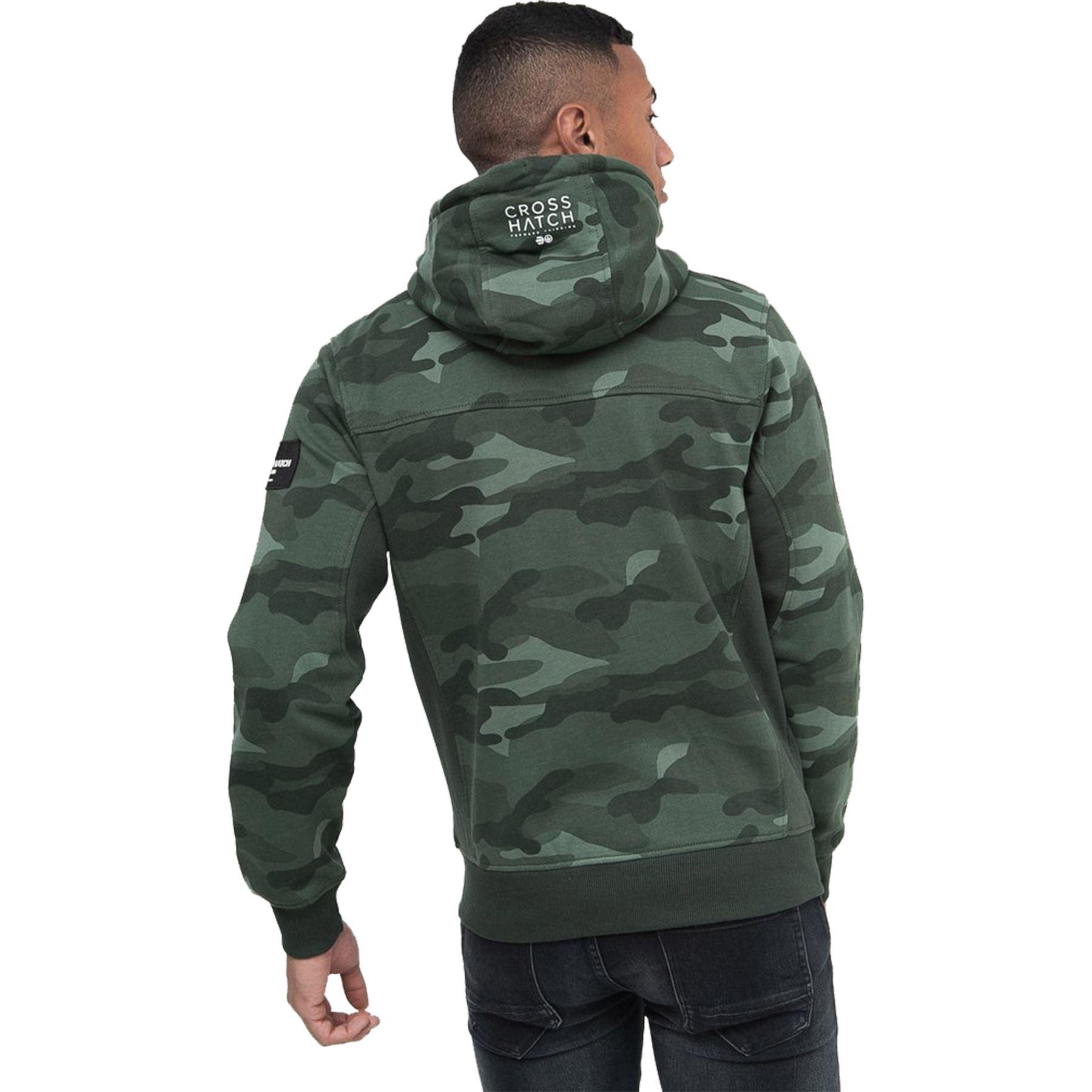 Crosshatch-Mens-Camo-Hoodie-Designer-Army-Style-Jacket-Zip-Thru-Pocket-Jacket thumbnail 6