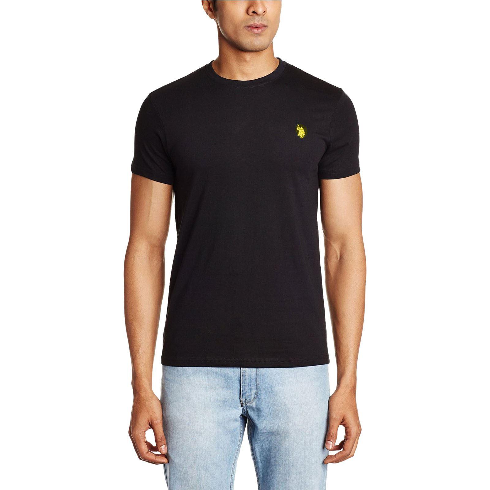 Para-Hombre-US-Polo-Assn-llanura-de-Algodon-de-Cuello-Redondo-Informal-Camiseta-Top-Pequeno-Pony