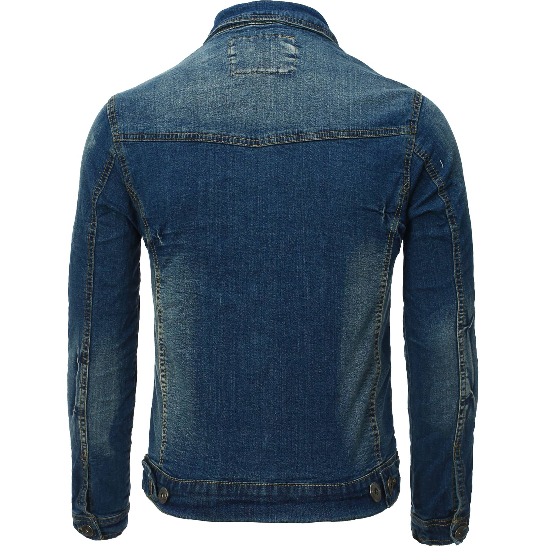 Mens-New-Fashion-Stretch-Jean-Denim-Trucker-Jacket-Dark-Wash-Distressed-Vintage thumbnail 3