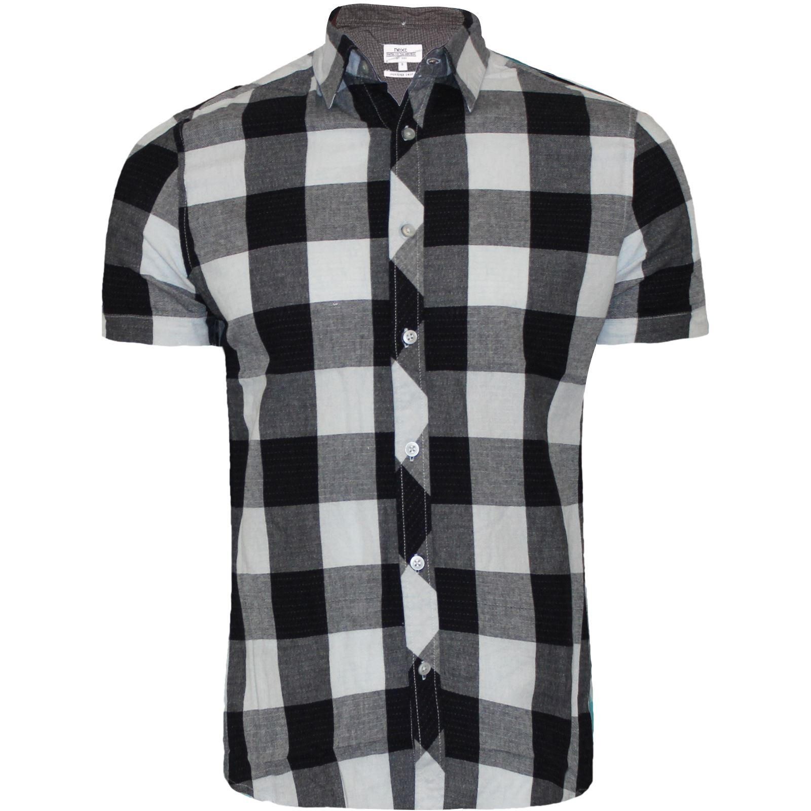 Mens Branded Short Sleeve Casual Check Print Smart Cotton Work