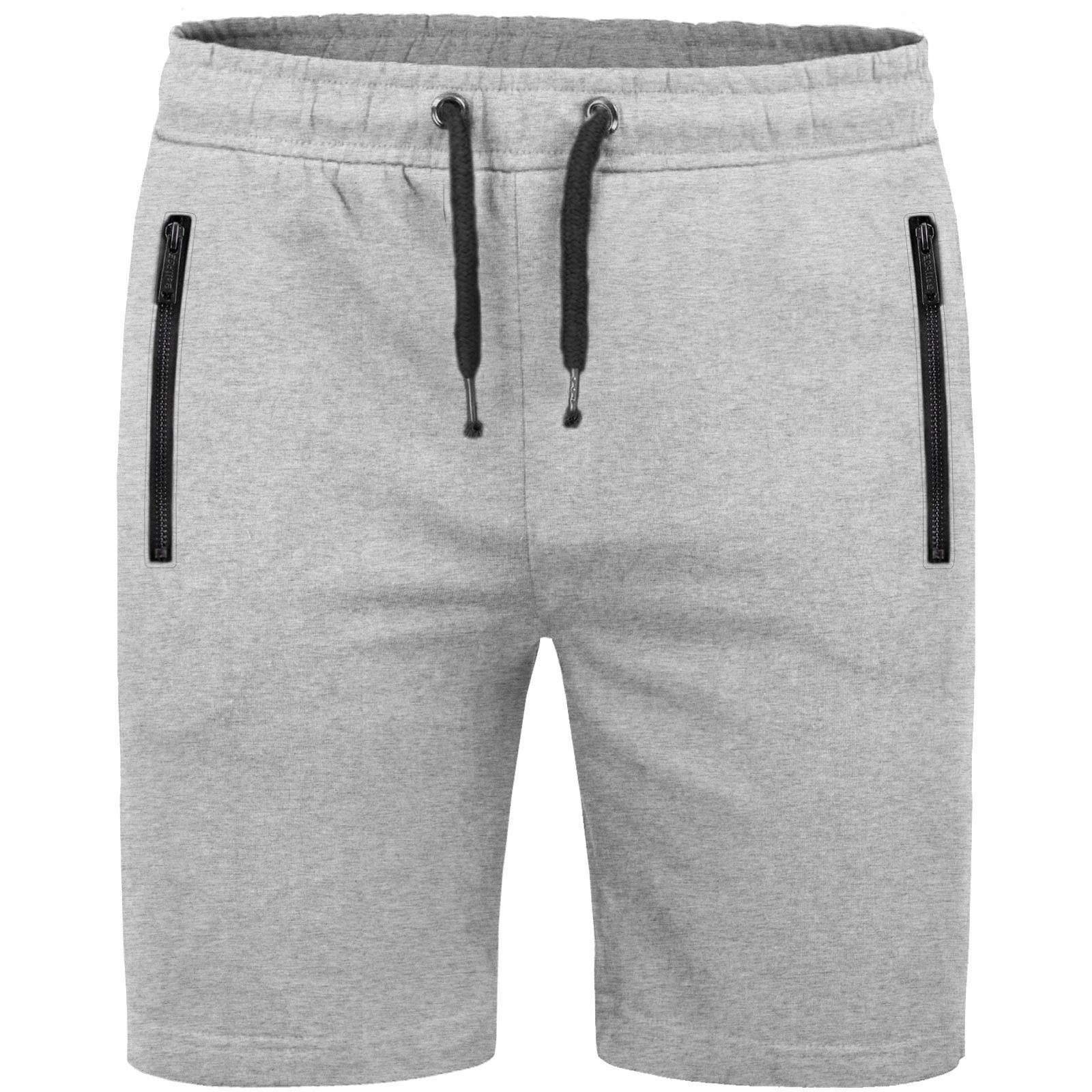 Mens Plain Gym Fleece Jogger Shorts Elasticated Waist Running Zip Pockets Big Fast Color Men's Clothing