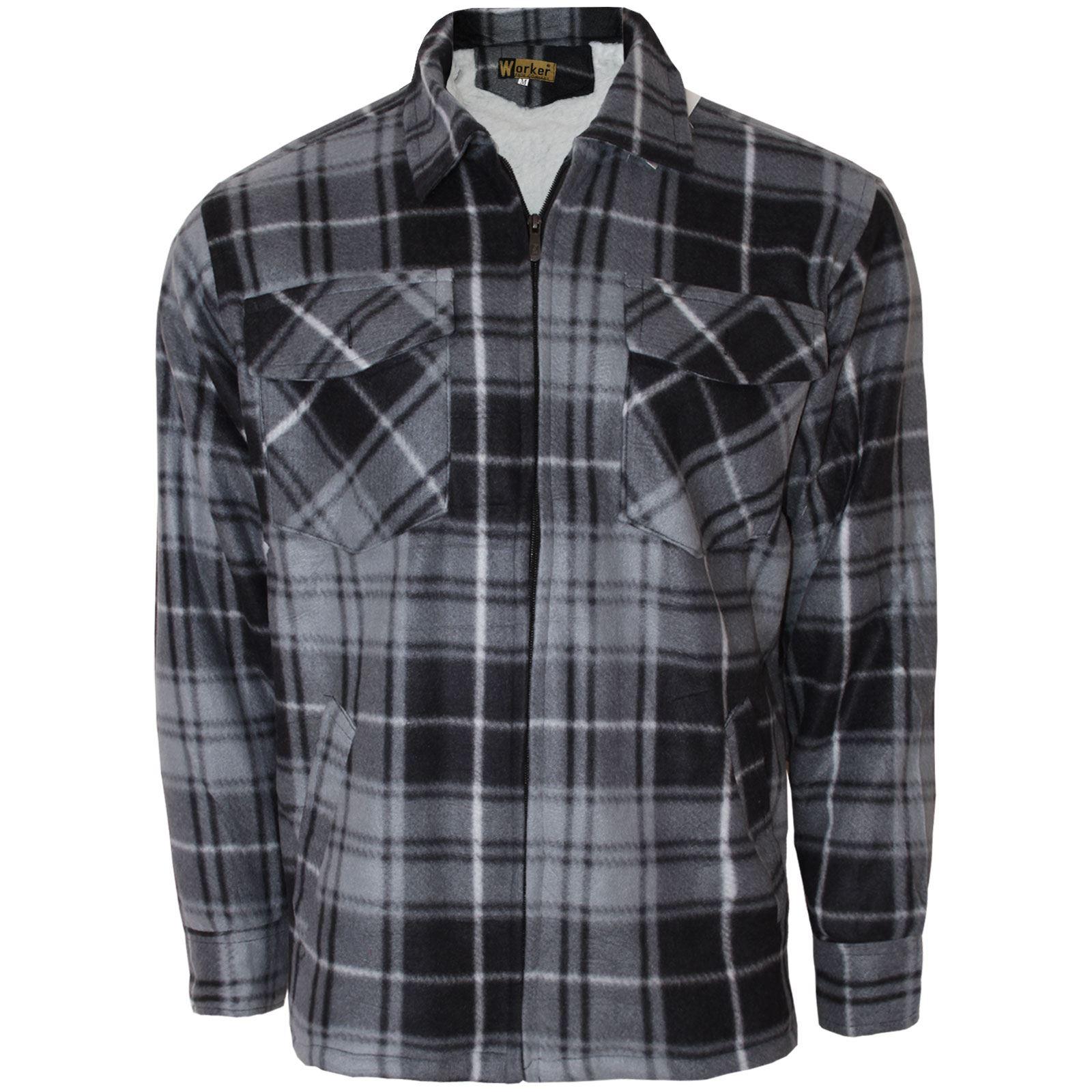 Mens lumberjack padded shirt fur fleece lined flannel work for Mens warm flannel shirts