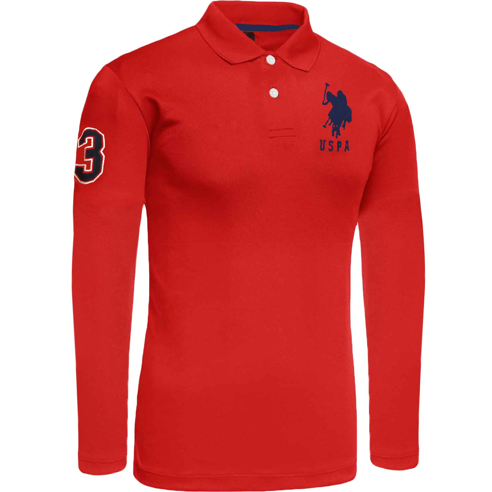 Mens Long Sleeve Polo Shirt Top Us Polo Assn Branded Big