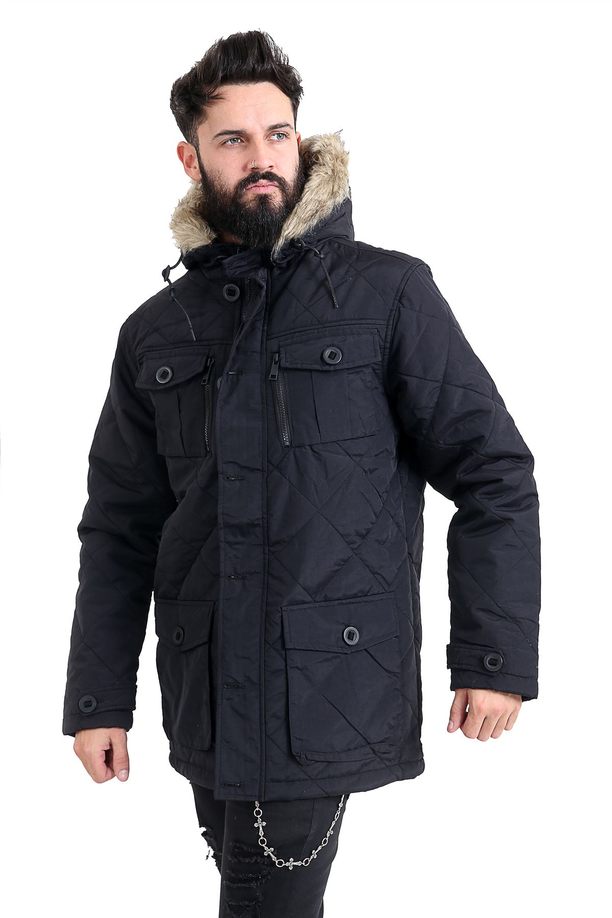 Mens-Quilted-Parker-Parka-Coat-Jacket-Fur-Lined-Hood-Warm-Winter-Thick-Padded thumbnail 3