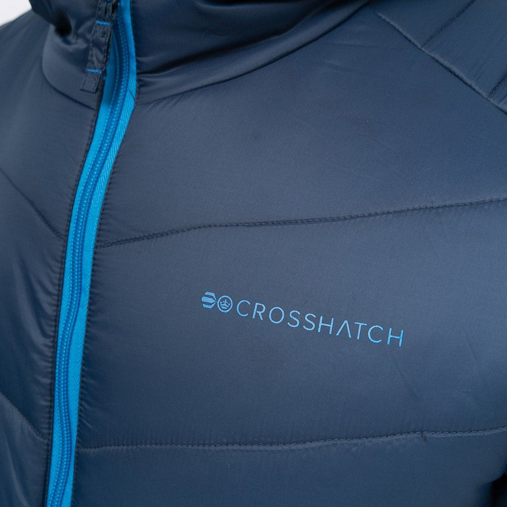 Mens-Crosshatch-Quilted-Puffer-Padded-Hooded-Jacket-Coat-Contrast-Zip-Pockets thumbnail 5