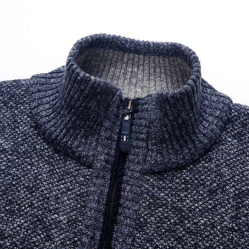 Mens-Winter-Funnel-Collar-Zip-Up-Fleece-Lined-Knitted-Warm-Cardigan-Jumper-Top thumbnail 3
