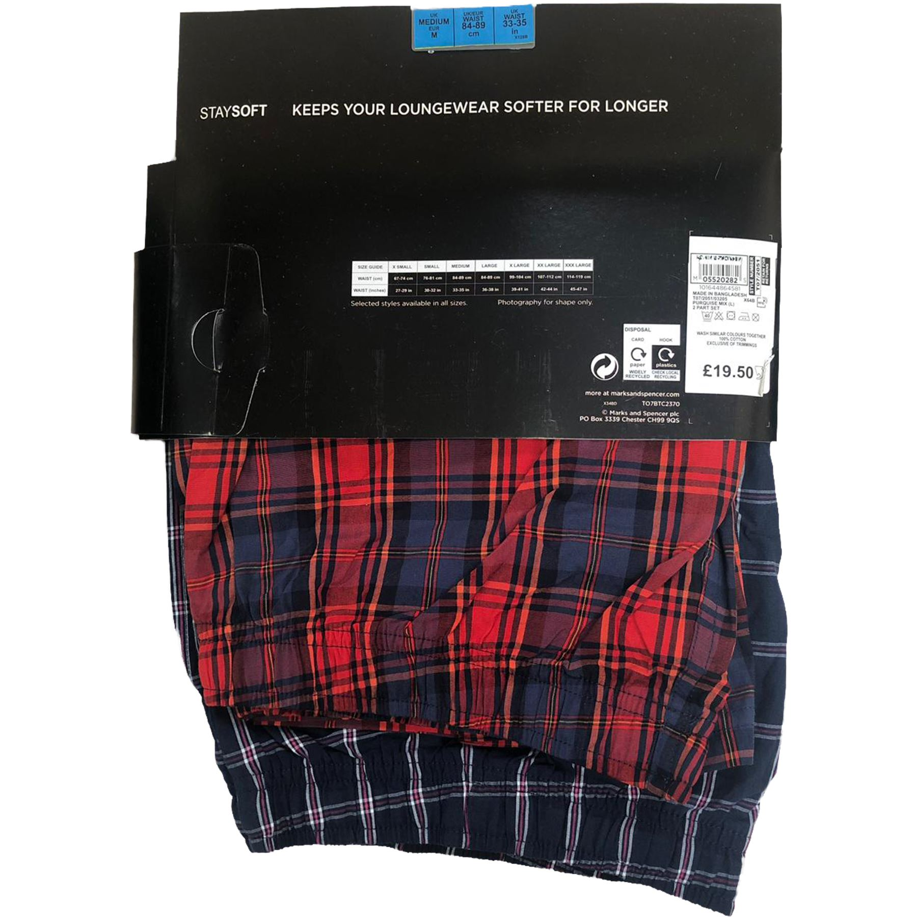 New Mens Ex M/&S 2 Pack Cotton Checked Pyjama Shorts Check Lounge Bottoms S-3XL