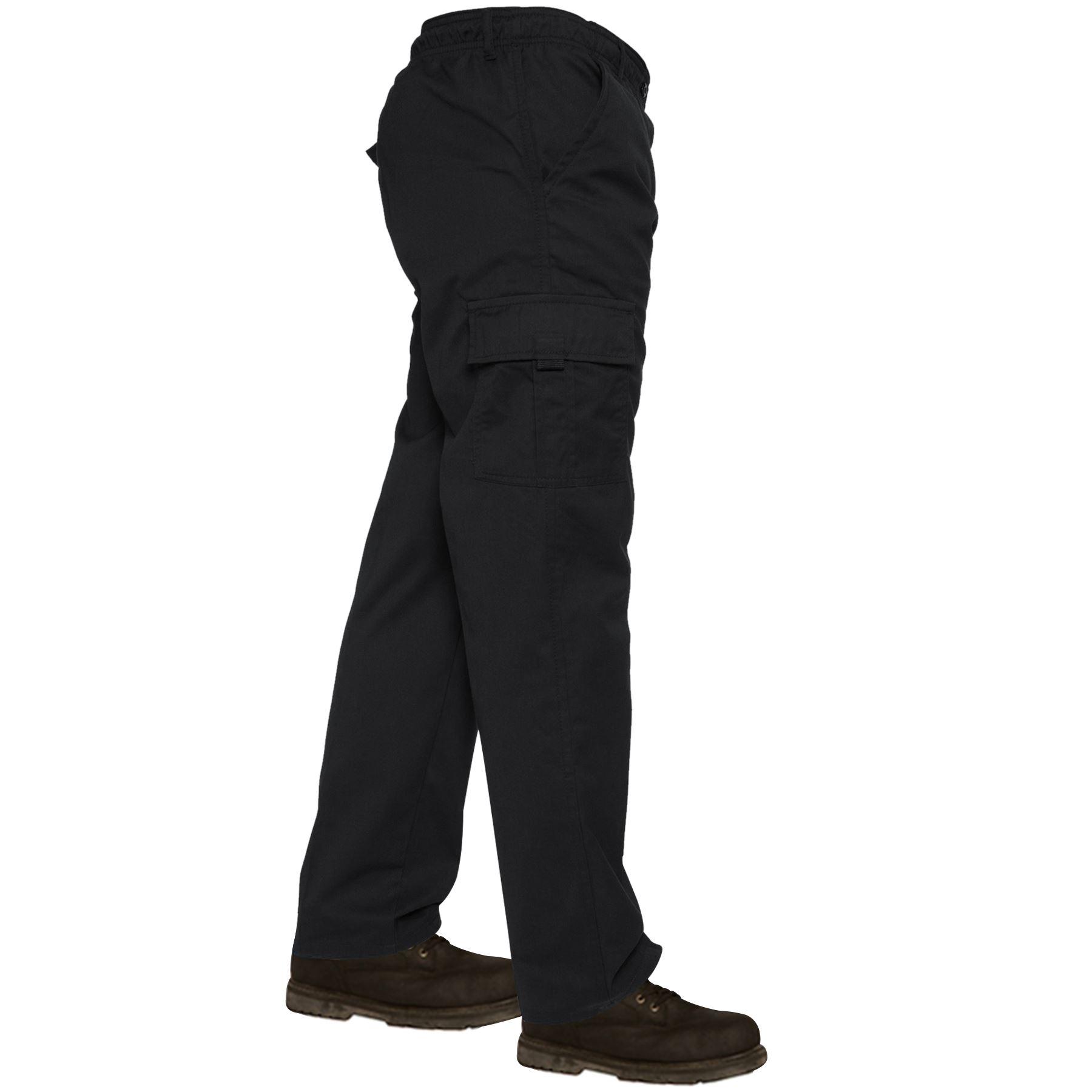 Mens-Lightweight-Elasticated-Waist-Cargo-Trousers-Combat-Work-Pants-Bottoms-New thumbnail 2