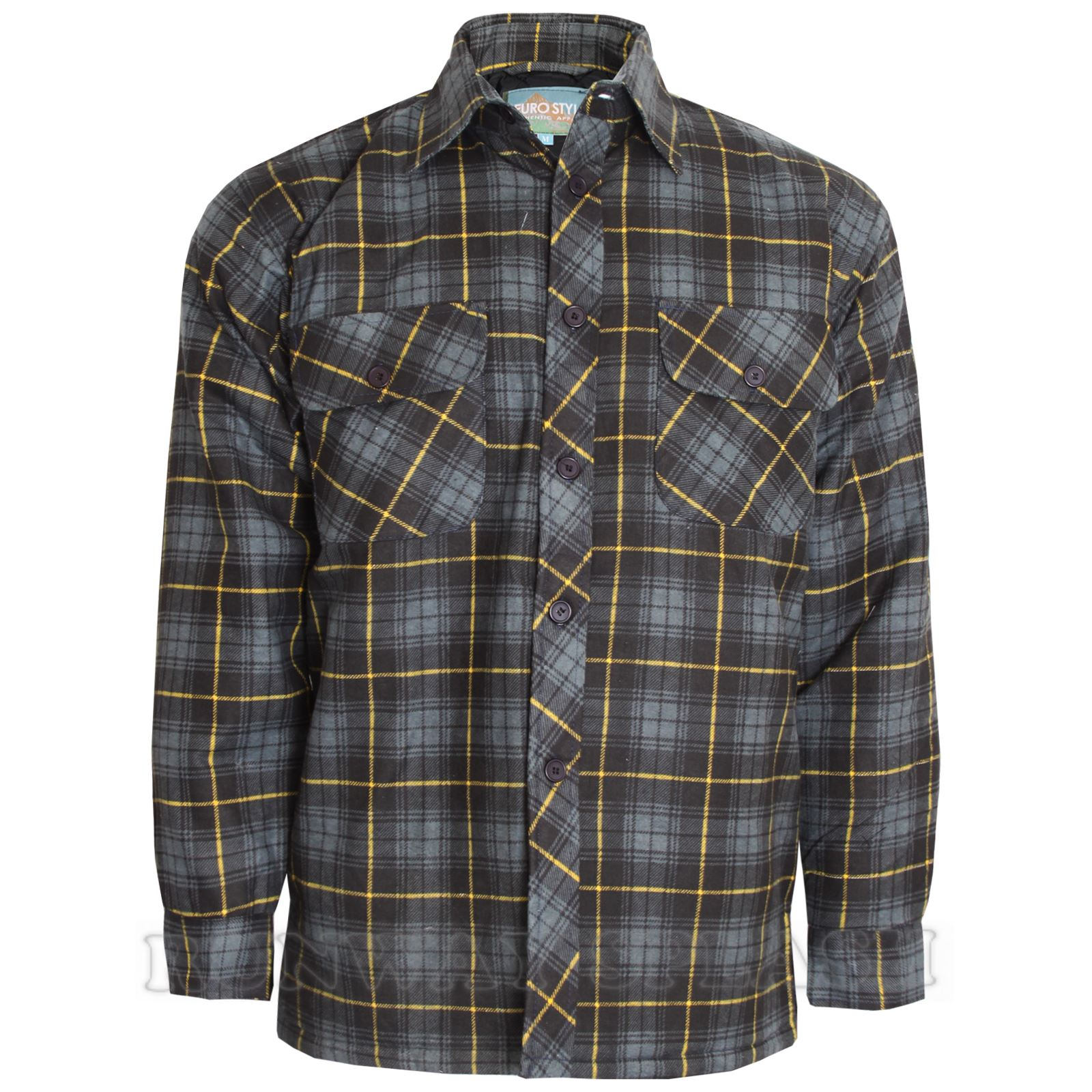 Mens thick lumberjack check button padded quilted lined for Men flannel shirt jacket with quilted lining