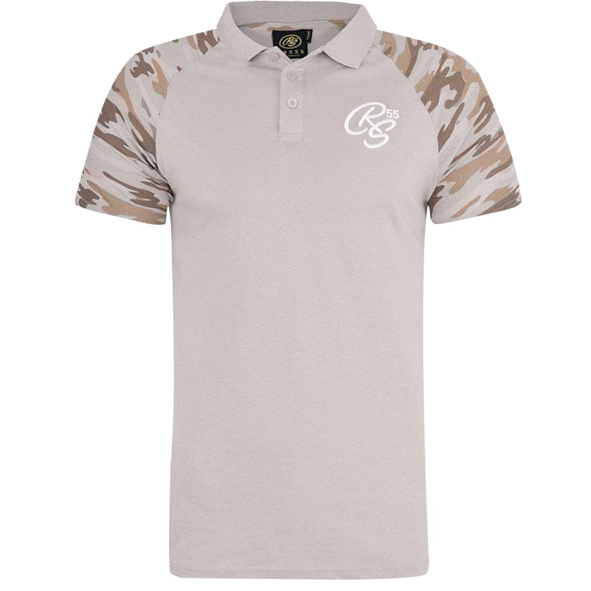 Mens-Crosshatch-Army-Polo-T-Shirt-Collared-T-Shirt-Camo-Sleeve-Casual-Top-Tee thumbnail 2