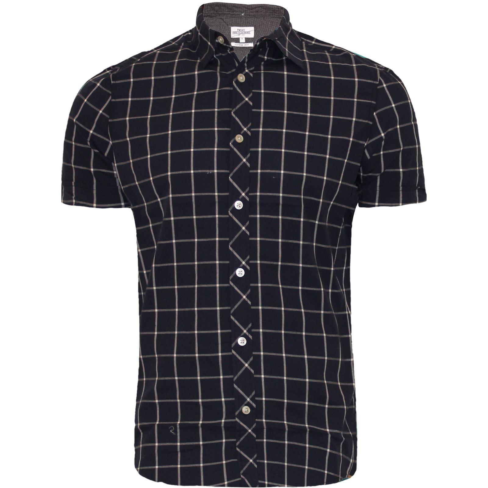 Men 39 s next branded check shirt short sleeve shirt casual for Mens short sleeve patterned shirts