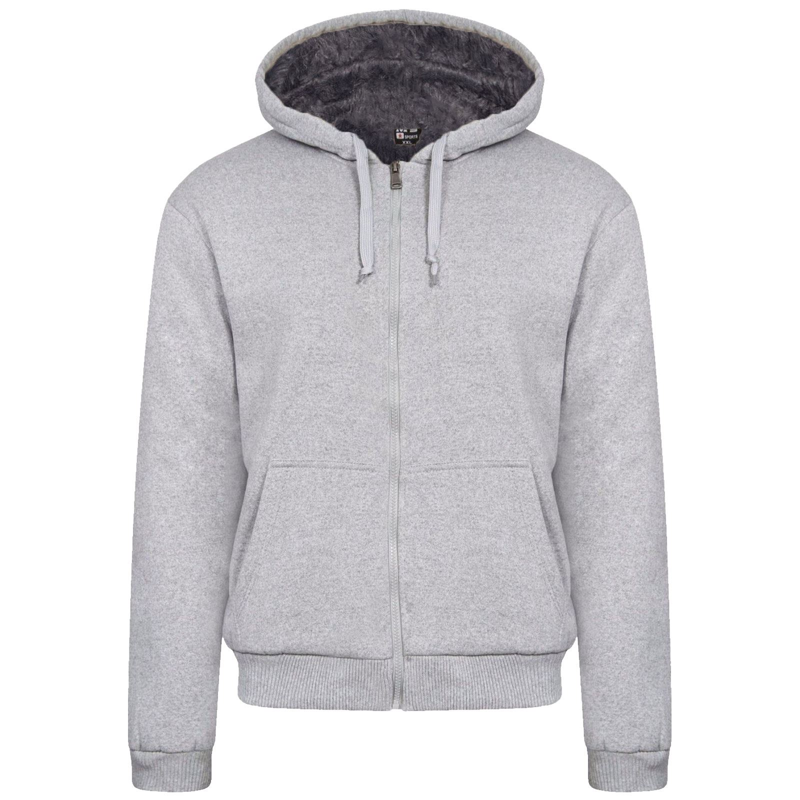 New Mens Fur Lined Winter Plain Hoodie Jacket Thick Sherpa ...