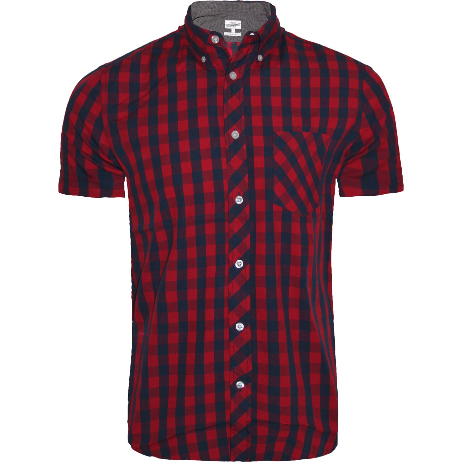 mens next branded check shirt short sleeve shirt casual