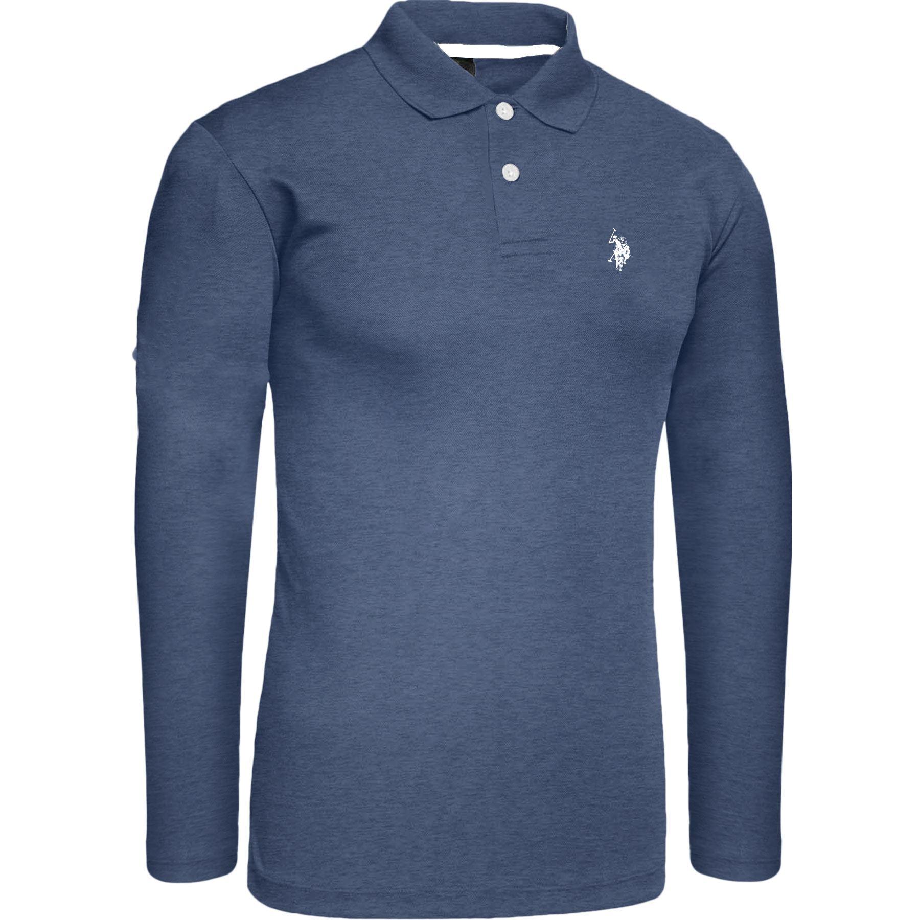 New-Mens-Branded-Long-Sleeve-Pique-Polo-Shirt-Small-Pony-Top-Denim-Blue