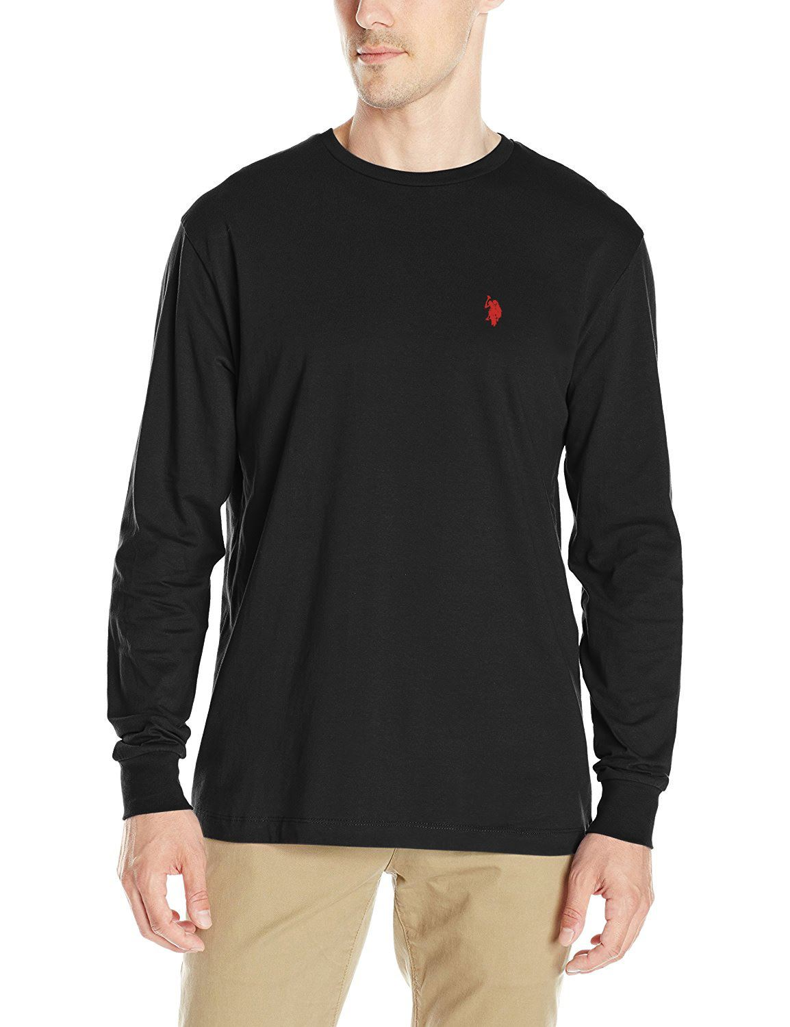 Mens us polo assn polo men 39 s crew neck t shirt long sleeve for What is polo neck t shirts