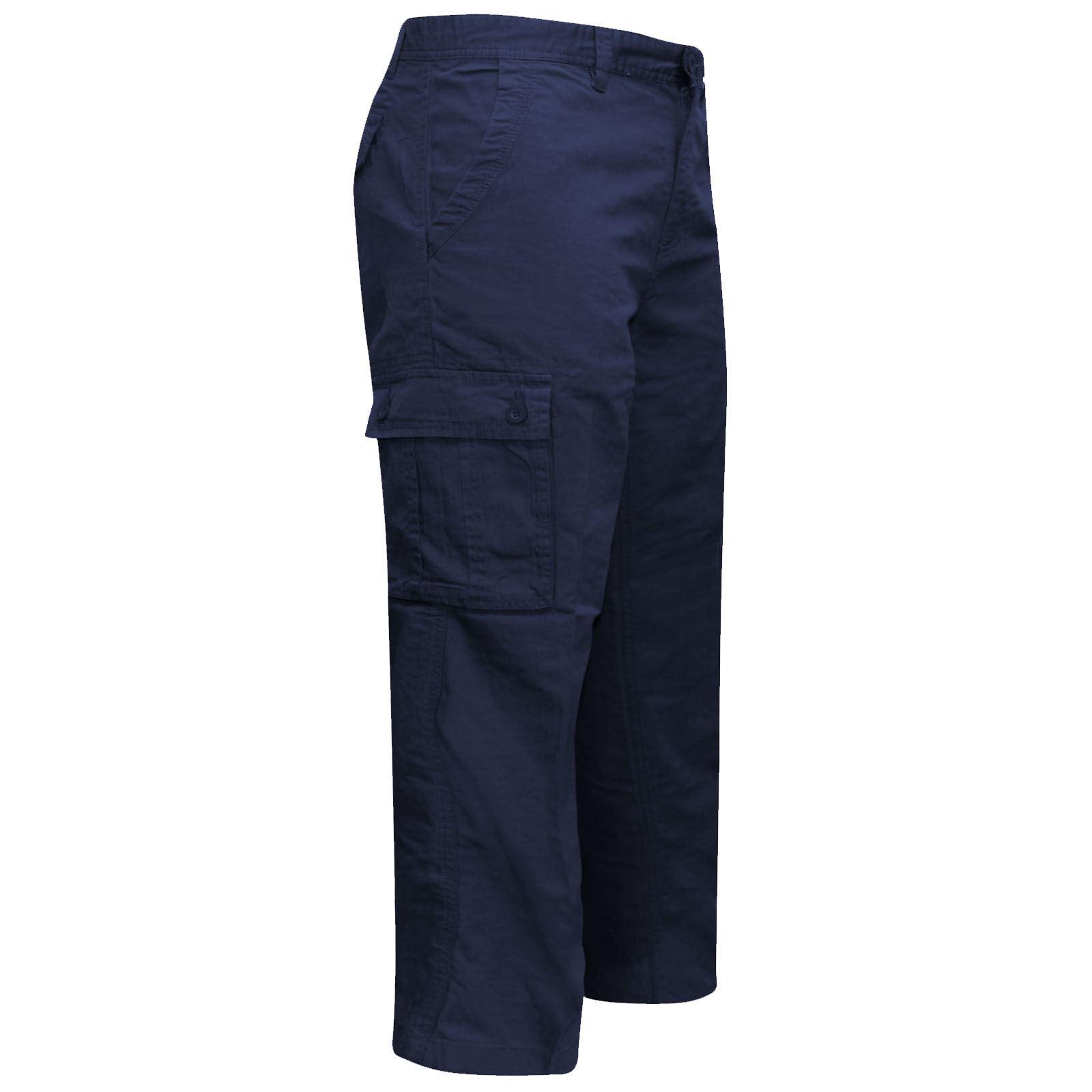 New Mens Plain Trousers Multi Pocket BHS Ex Store Formal Pants 100/% Cotton 32-46