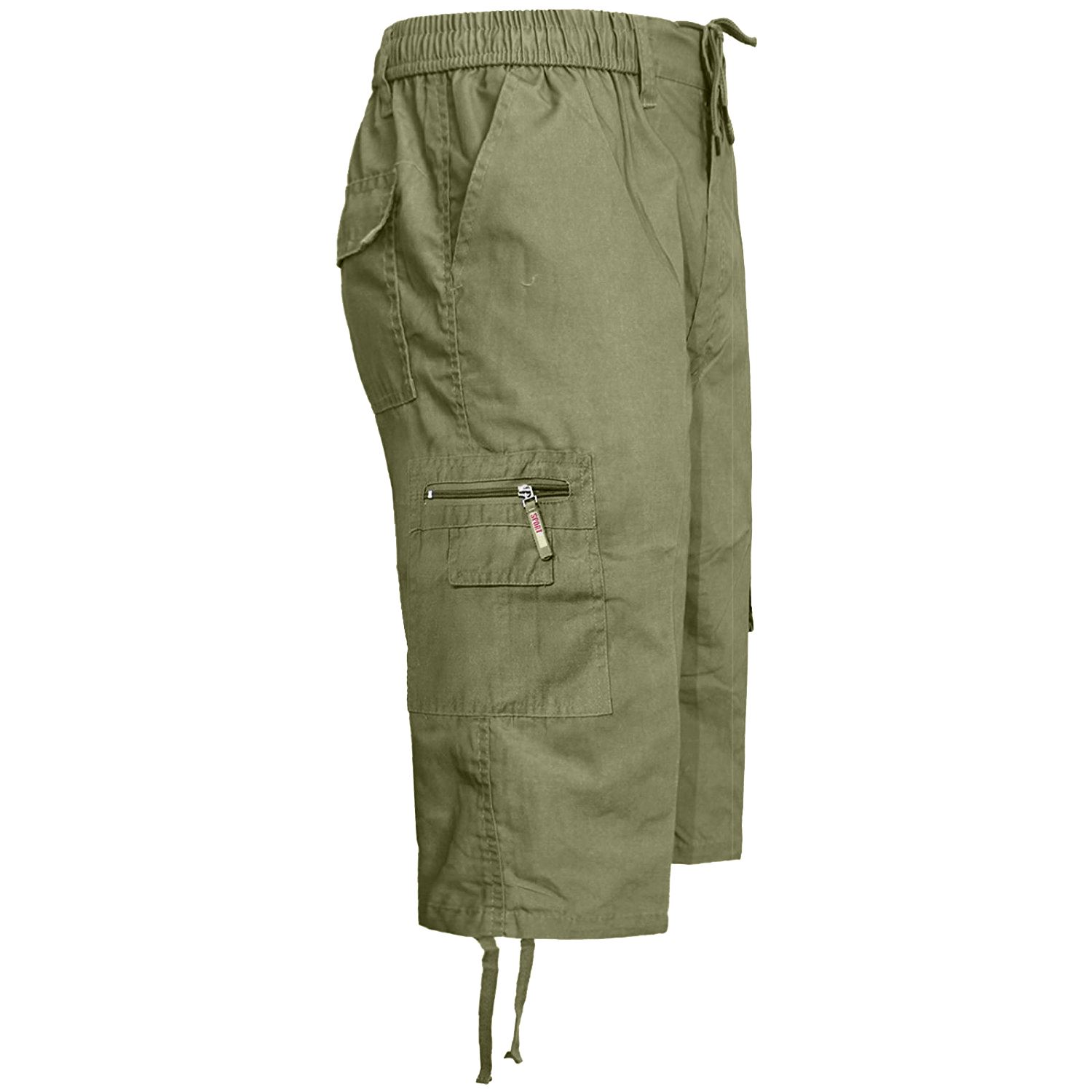 MENS-ELASTICATED-KNEE-LENGTH-OR-3-4-SHORTS-CARGO-COMBAT-MULTI-POCKET-SUMMER-PANT thumbnail 35