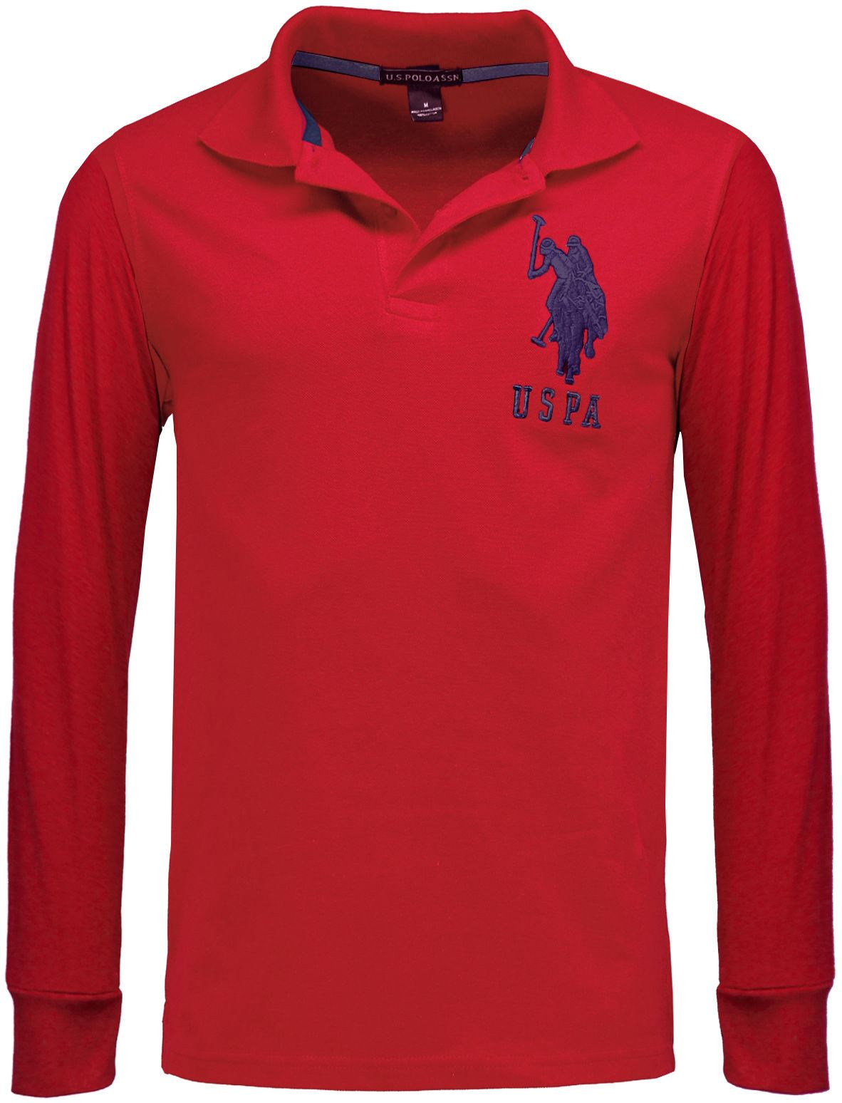 Us polo assn branded mens long sleeve polo shirts pique for Mens collared t shirts
