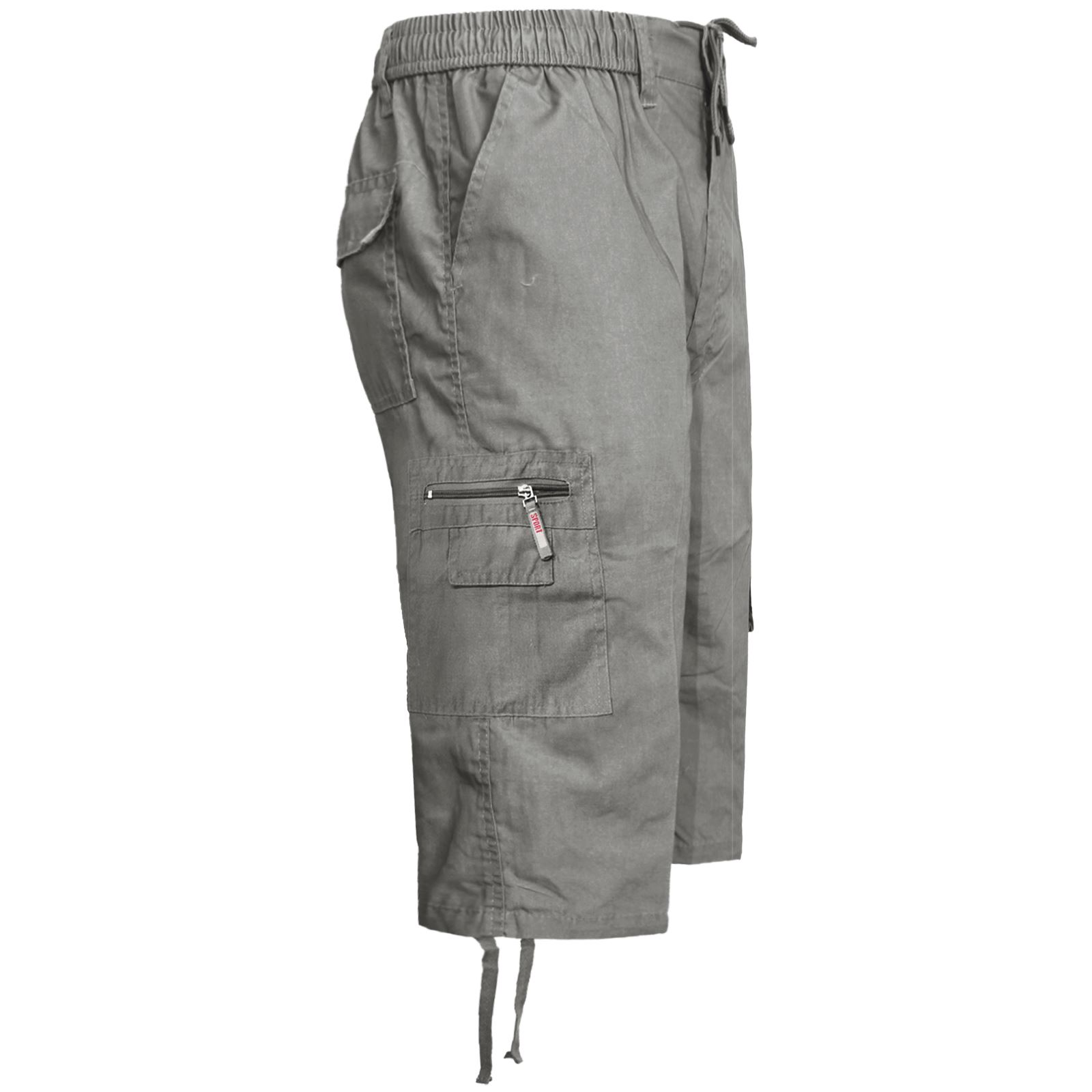 MENS-ELASTICATED-KNEE-LENGTH-OR-3-4-SHORTS-CARGO-COMBAT-MULTI-POCKET-SUMMER-PANT thumbnail 31