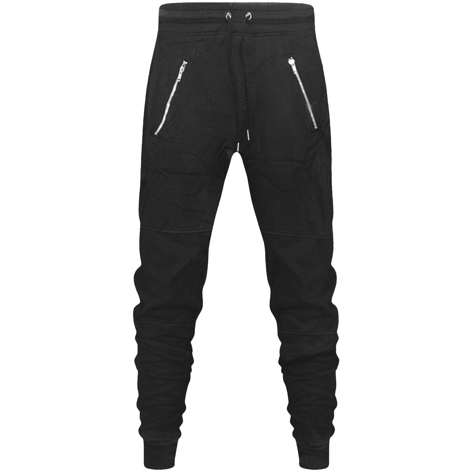 157cfb22f99dc7 New Mens Skinny Slim Fit Joggers Jogging Bottom Fleece Gym Pants Zip ...