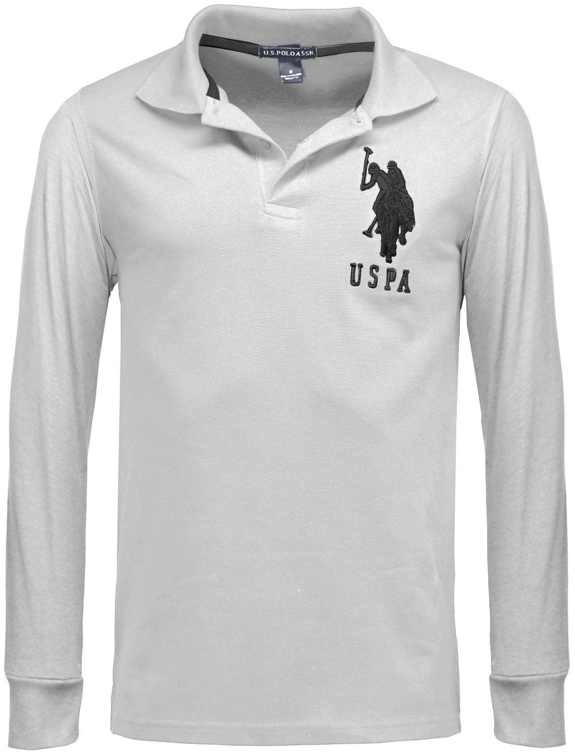 Mens us polo assn long sleeve top polo shirt pique for Mens long sleeve pique polo shirts