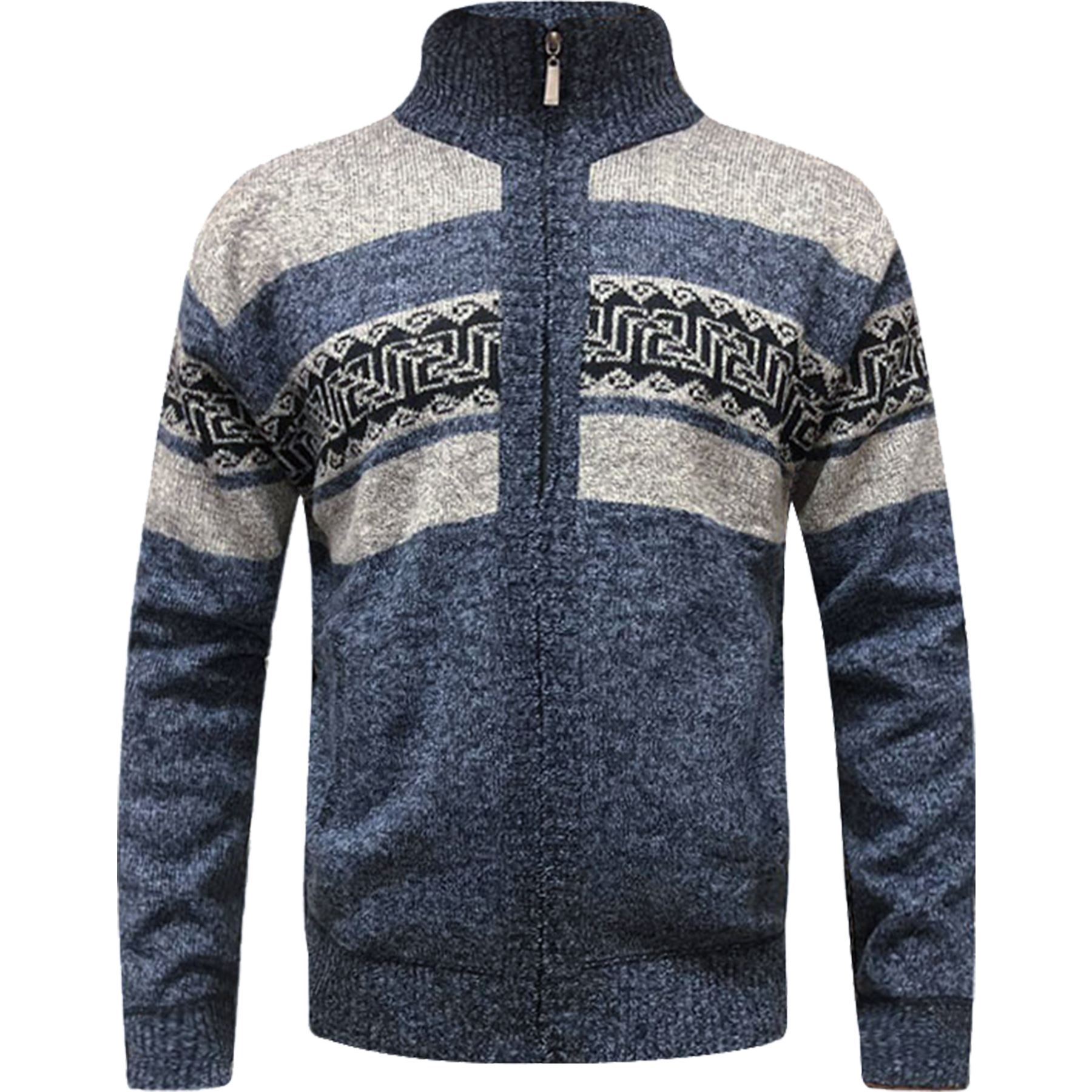 Mens-Zip-Up-Aztec-Fleece-Lined-Knitted-Cardigan-Xmas-Argyle-Wool-Blend-Jumper thumbnail 5