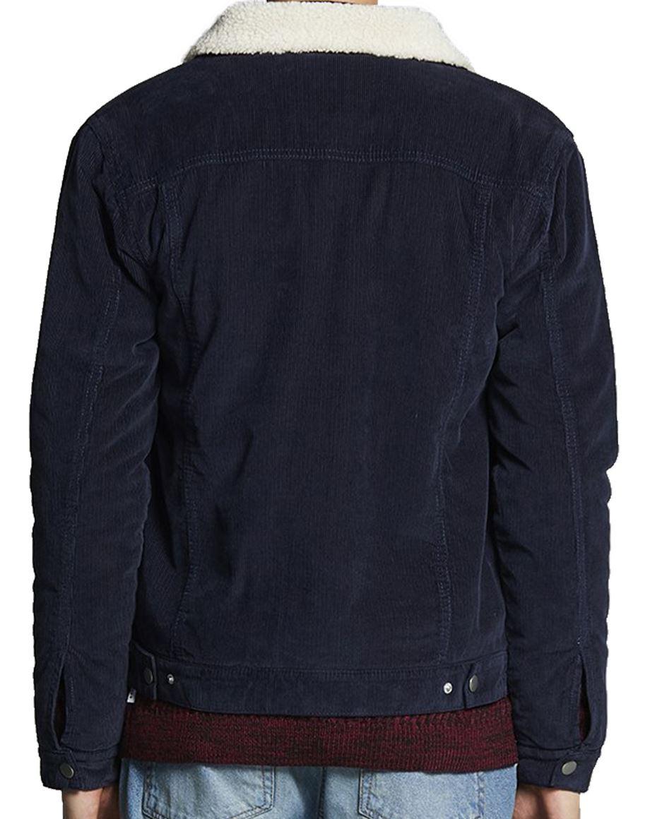 Chemise pour en Décontracté en fourrure Col Borg Hiver hommes jean marine molleton Bleu en en Doublé jean FPFwfxrI