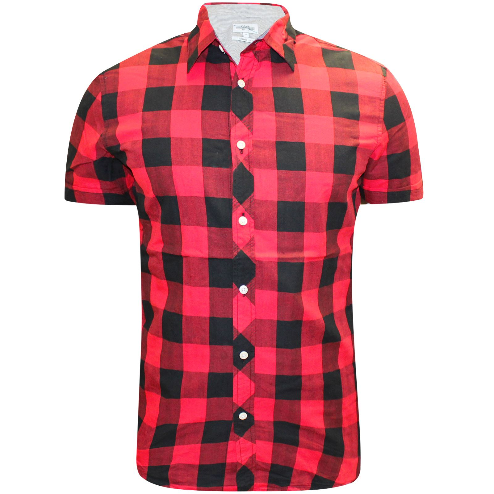 Mens-Ex-Store-Short-Sleeve-Shirt-Striped-Checked-Flannel-Summer-Office-Work
