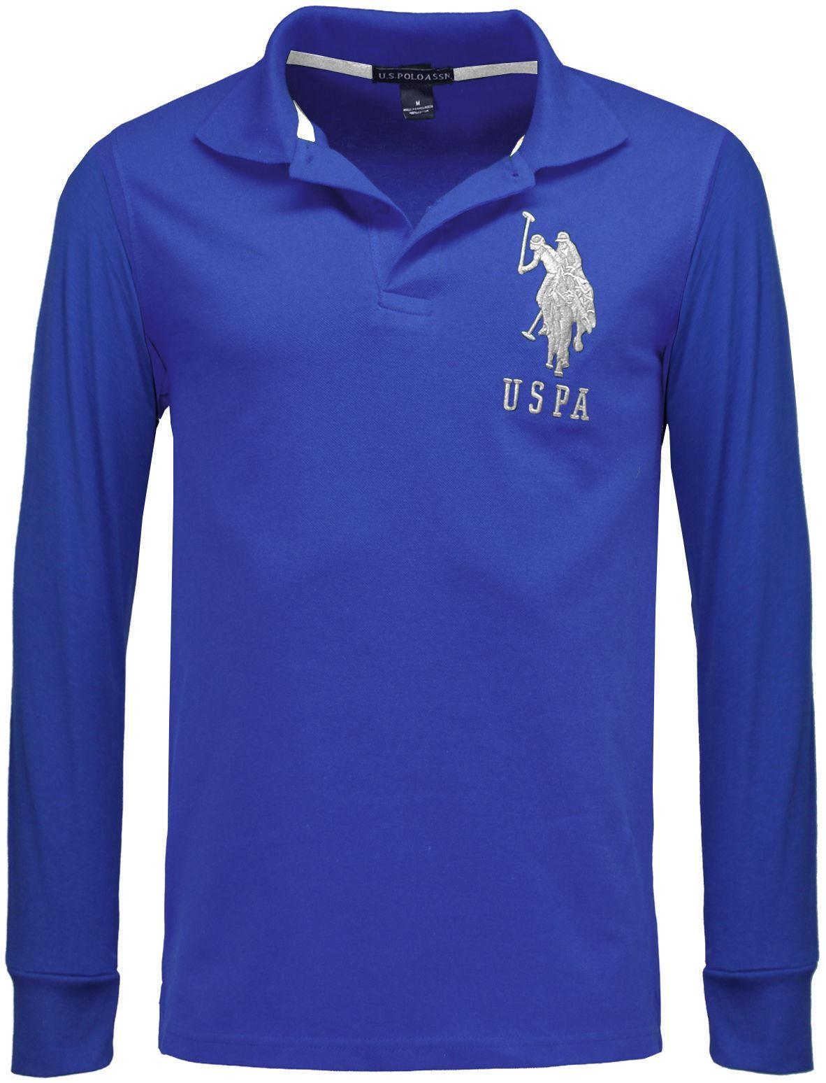 Us Polo Assn Branded Mens Long Sleeve Polo Shirts Pique