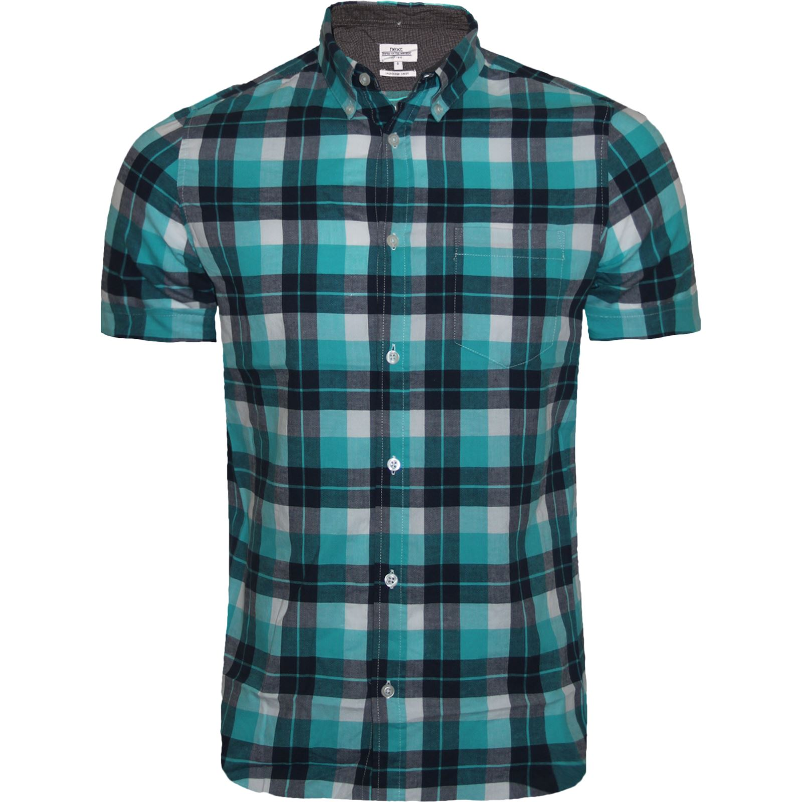 Men 39 s next branded check shirt short sleeve shirt casual for New check designs