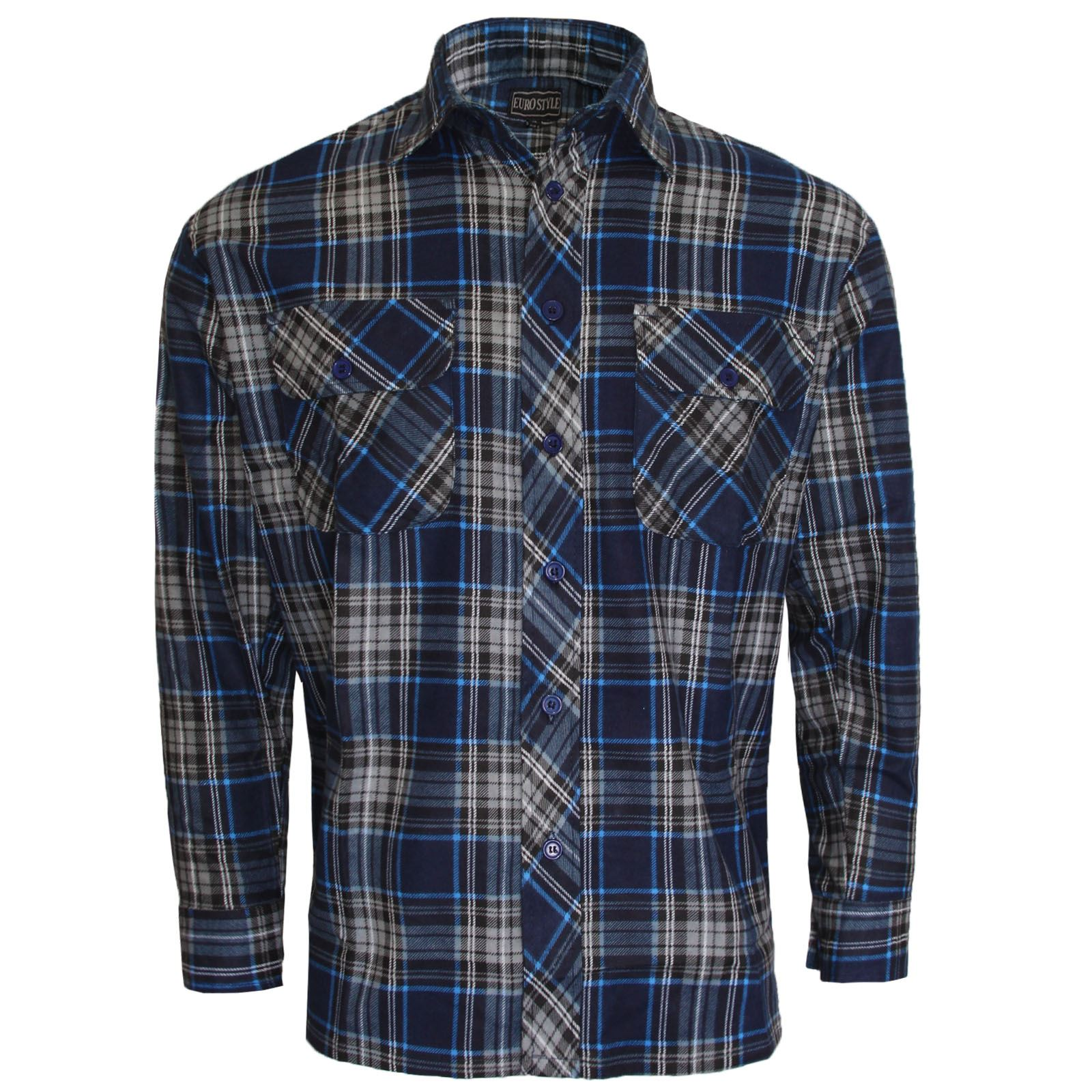 Mens flannel lumberjack check shirt cotton work shirts for Mens xl flannel shirts