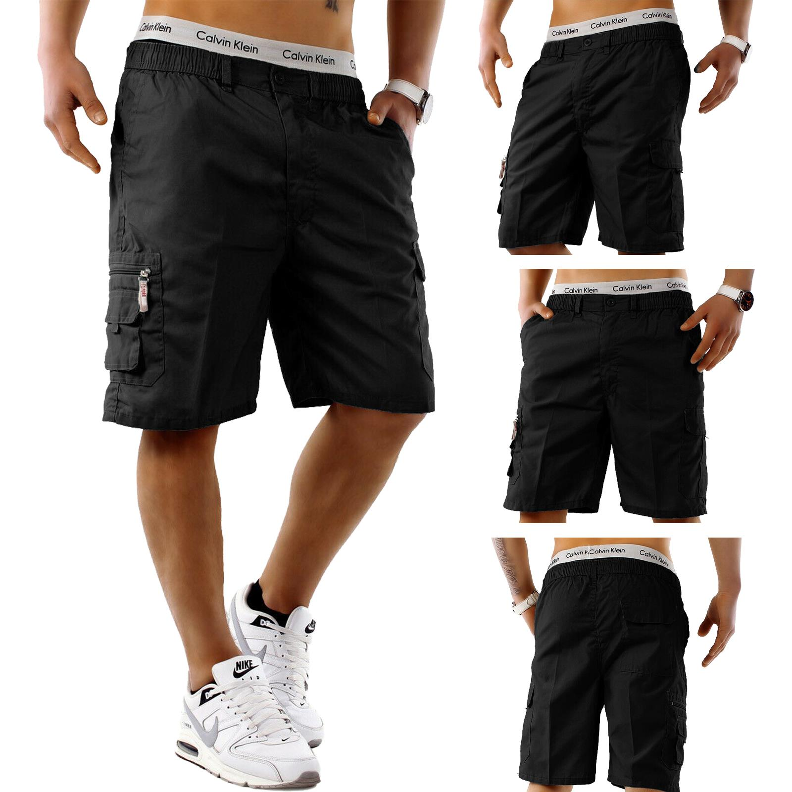 Mens-Cargo-Shorts-Elasticated-Waist-Casual-Cotton-Combat-Pants-M-L-XL-2XL-3XL thumbnail 3