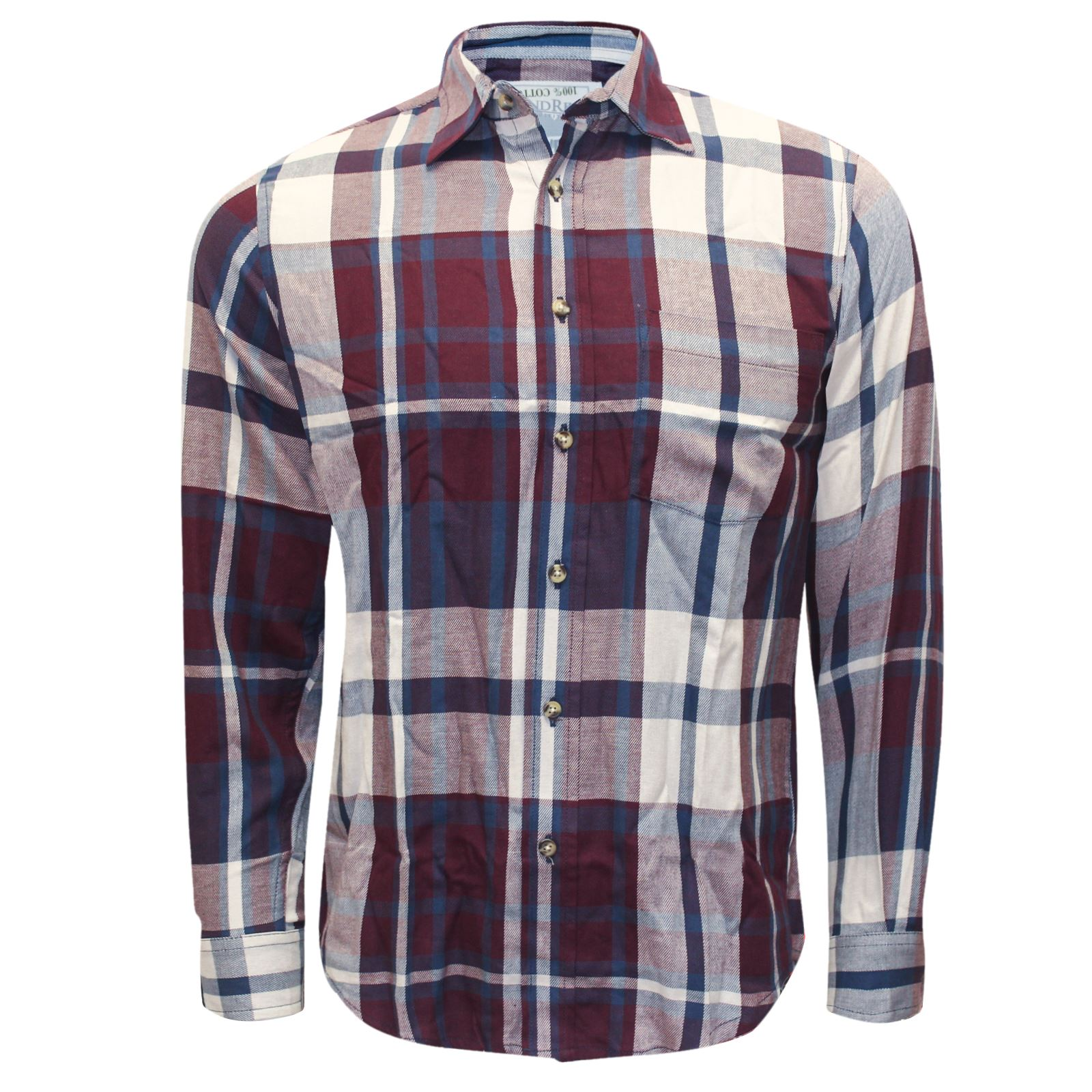 New mens check shirt branded flannel brushed cotton long for Mens long sleeve casual cotton shirts