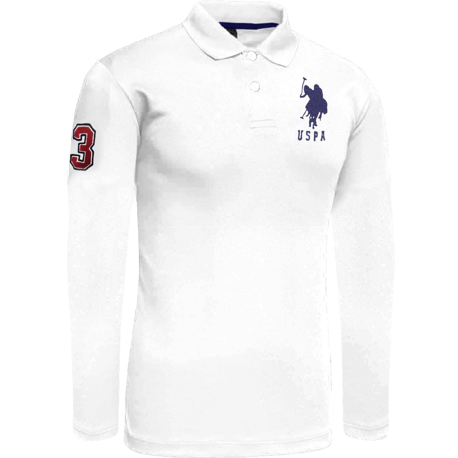 Mens us polo assn long sleeve polo shirt pique top 2017 for Mens long sleeve pique polo shirts