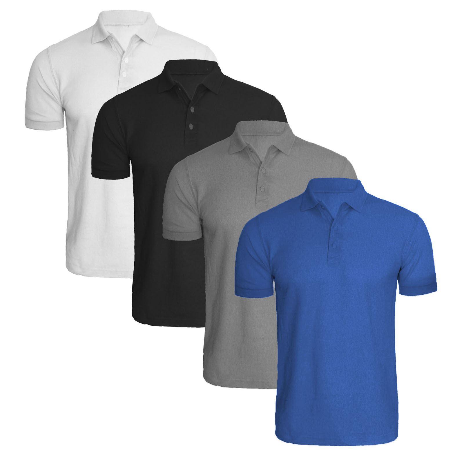 4 pack plain polo shirt t shirt golf tennis pique top many for Plain t shirt pack