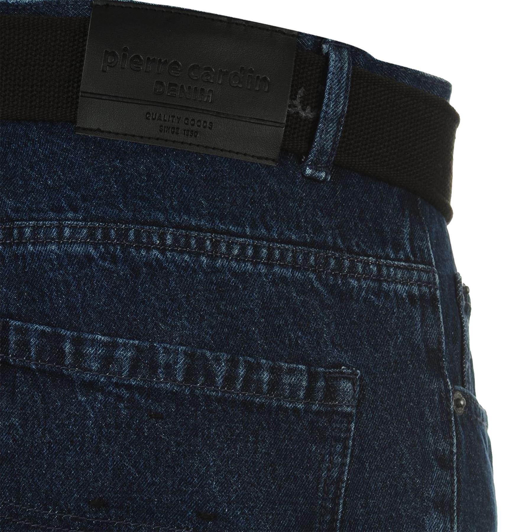 Mens-Belted-Denim-Jeans-Straight-Leg-Regular-Fit-Pierre-Cardin-Pants-Big-Tall thumbnail 17