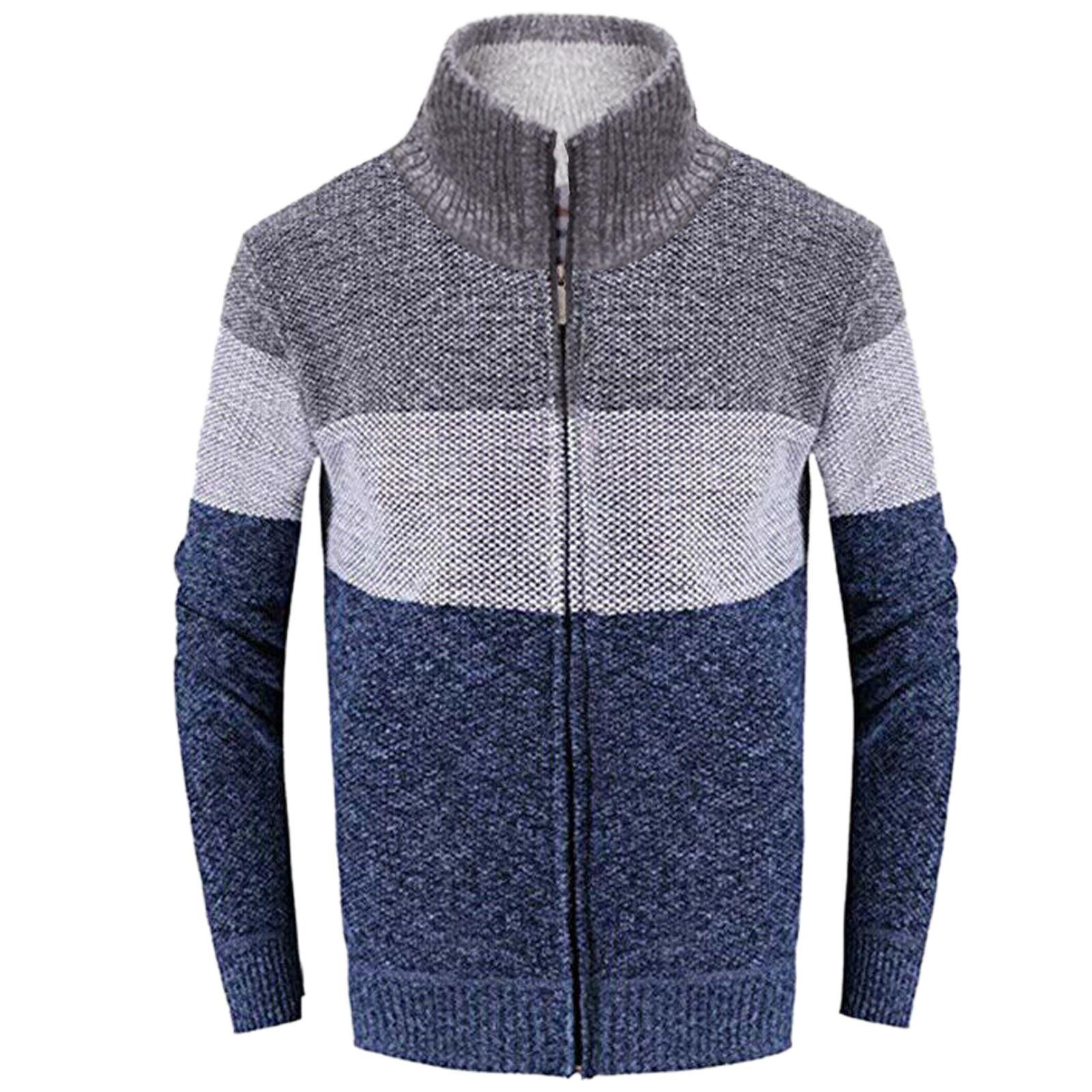 Mens-Winter-Warm-Fleece-Lined-Sweater-Knitted-Striped-Zip-Thru-Cardigan-Jumper thumbnail 3