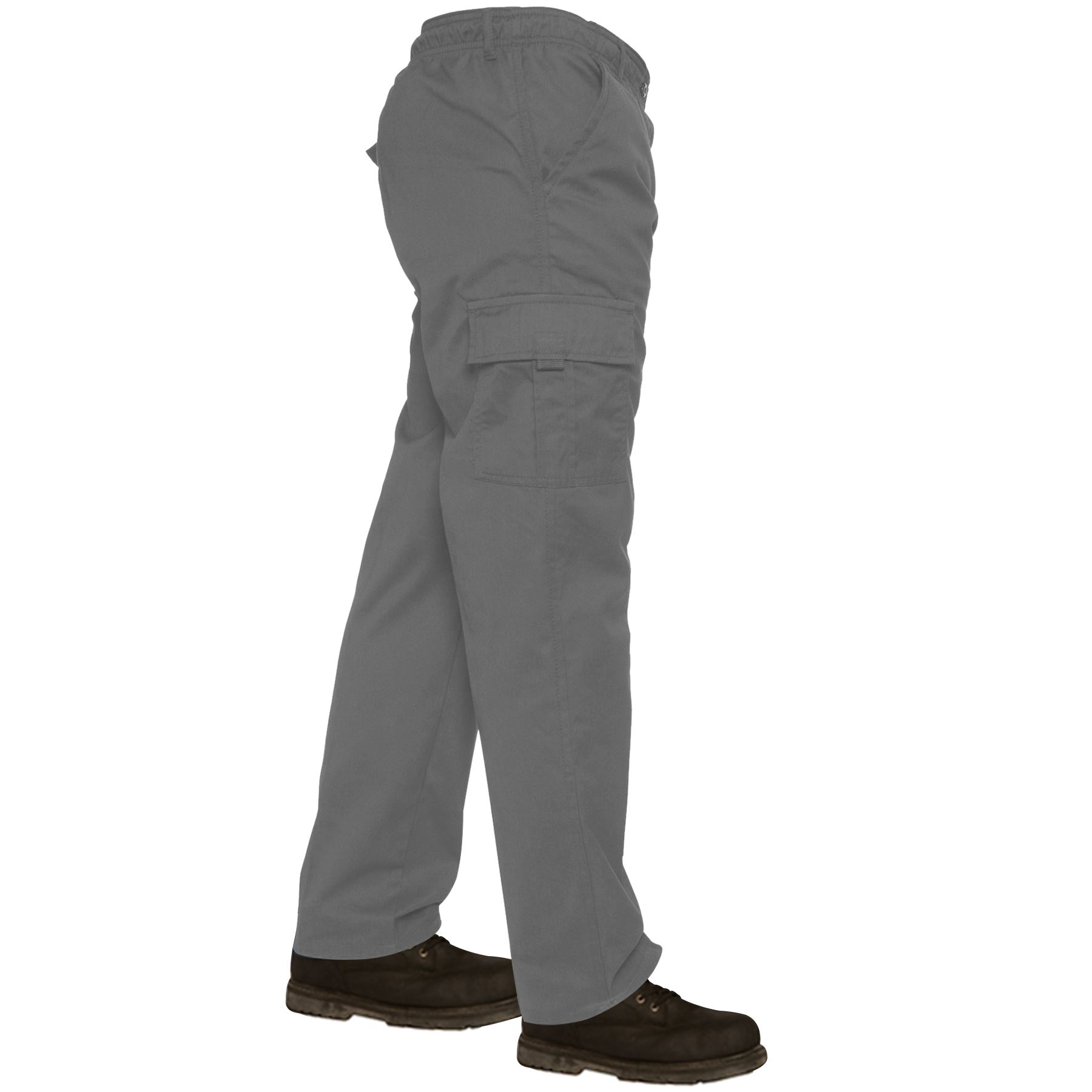 Mens-Lightweight-Elasticated-Waist-Cargo-Trousers-Combat-Work-Pants-Bottoms-New thumbnail 3